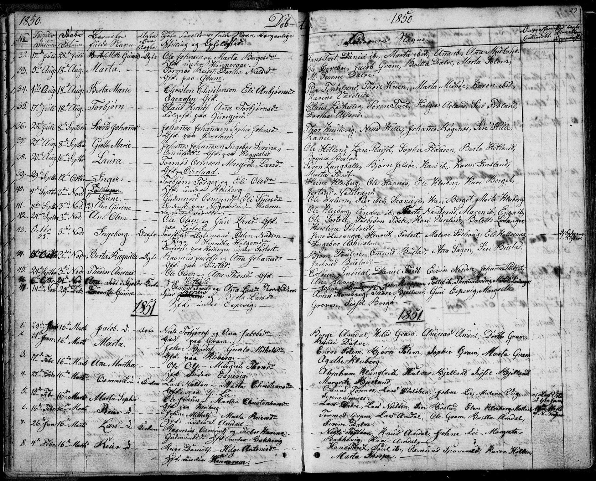 SAST, Nedstrand sokneprestkontor, IV: Ministerialbok nr. A 8, 1839-1860, s. 23