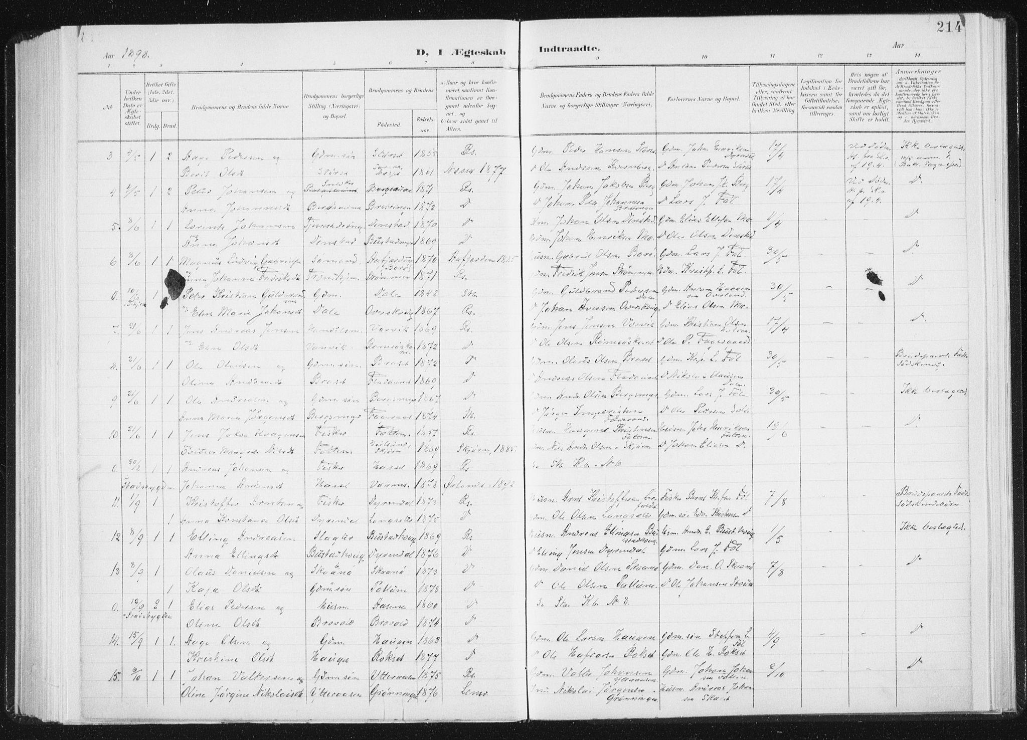 SAT, Ministerialprotokoller, klokkerbøker og fødselsregistre - Sør-Trøndelag, 647/L0635: Ministerialbok nr. 647A02, 1896-1911, s. 214