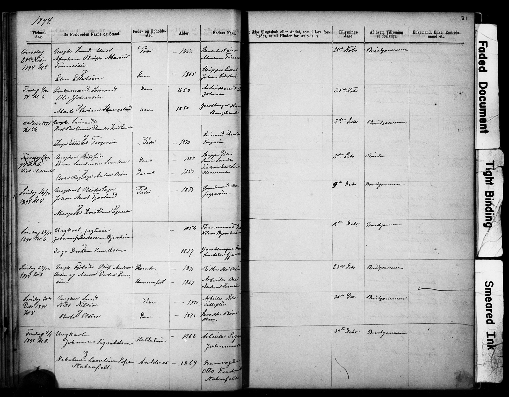 SAST, Domkirken sokneprestkontor, 30/30BB/L0014: Klokkerbok nr. B 14, 1875-1902, s. 131