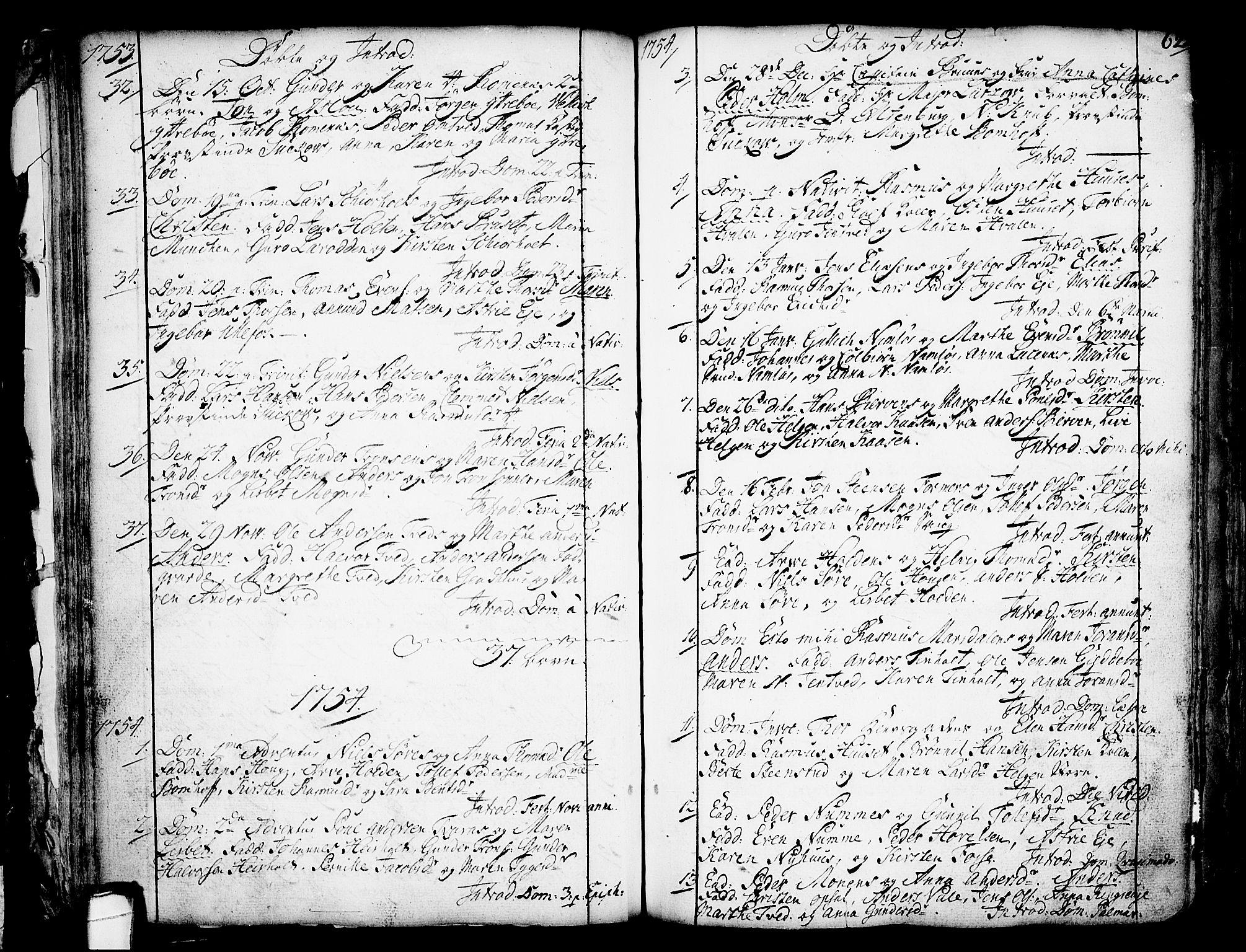 SAKO, Holla kirkebøker, F/Fa/L0001: Ministerialbok nr. 1, 1717-1779, s. 62