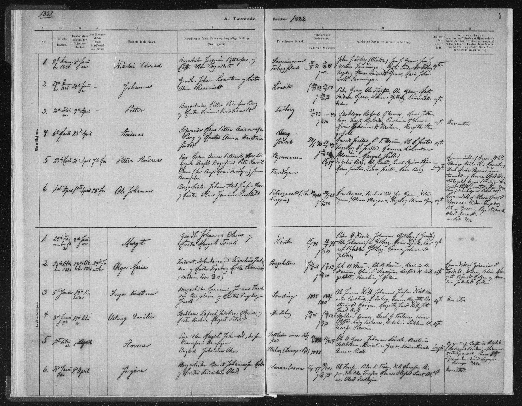 SAT, Ministerialprotokoller, klokkerbøker og fødselsregistre - Nord-Trøndelag, 722/L0220: Ministerialbok nr. 722A07, 1881-1908, s. 4