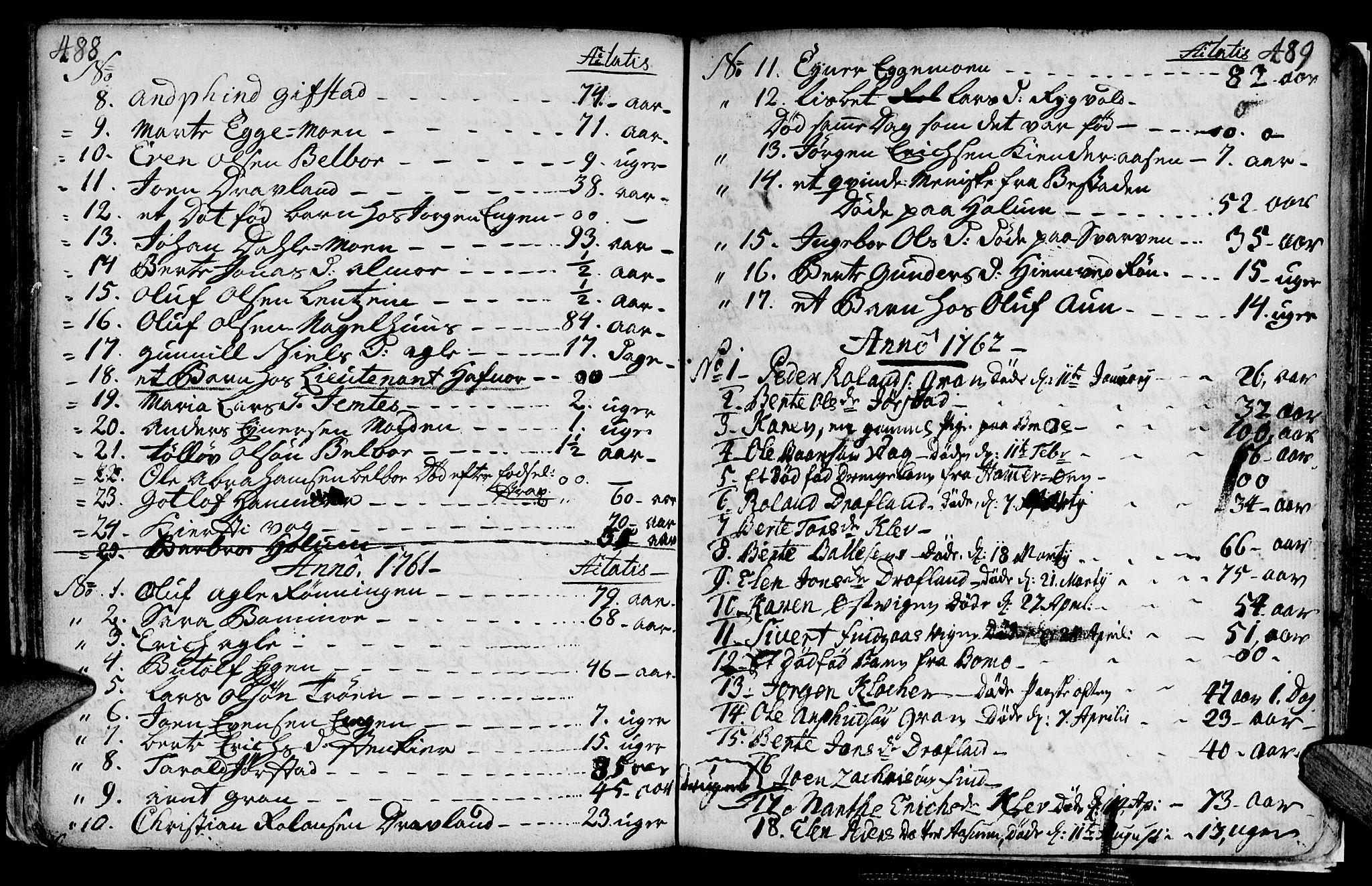 SAT, Ministerialprotokoller, klokkerbøker og fødselsregistre - Nord-Trøndelag, 749/L0467: Ministerialbok nr. 749A01, 1733-1787, s. 488-489