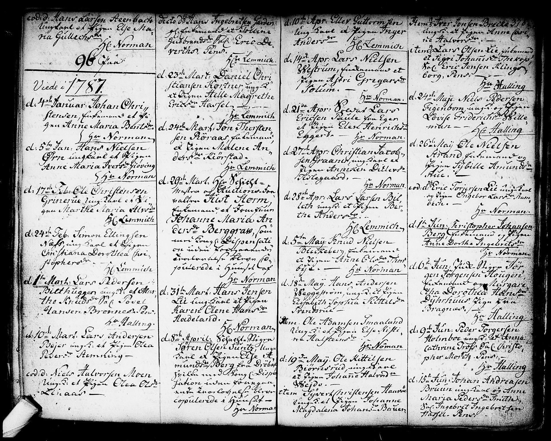 SAKO, Kongsberg kirkebøker, F/Fa/L0006: Ministerialbok nr. I 6, 1783-1797, s. 378