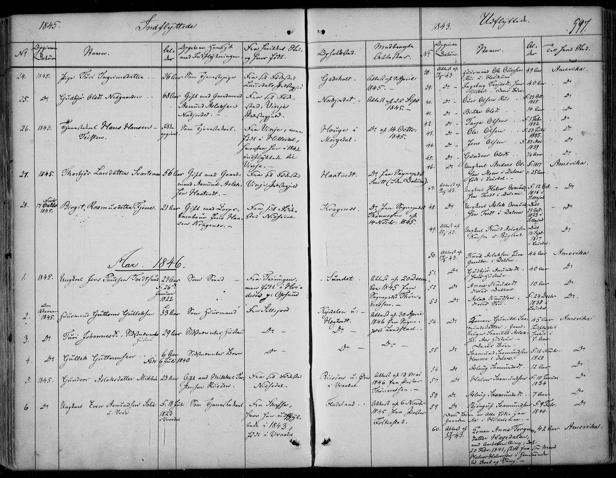 SAKO, Kviteseid kirkebøker, F/Fa/L0006: Ministerialbok nr. I 6, 1836-1858, s. 597