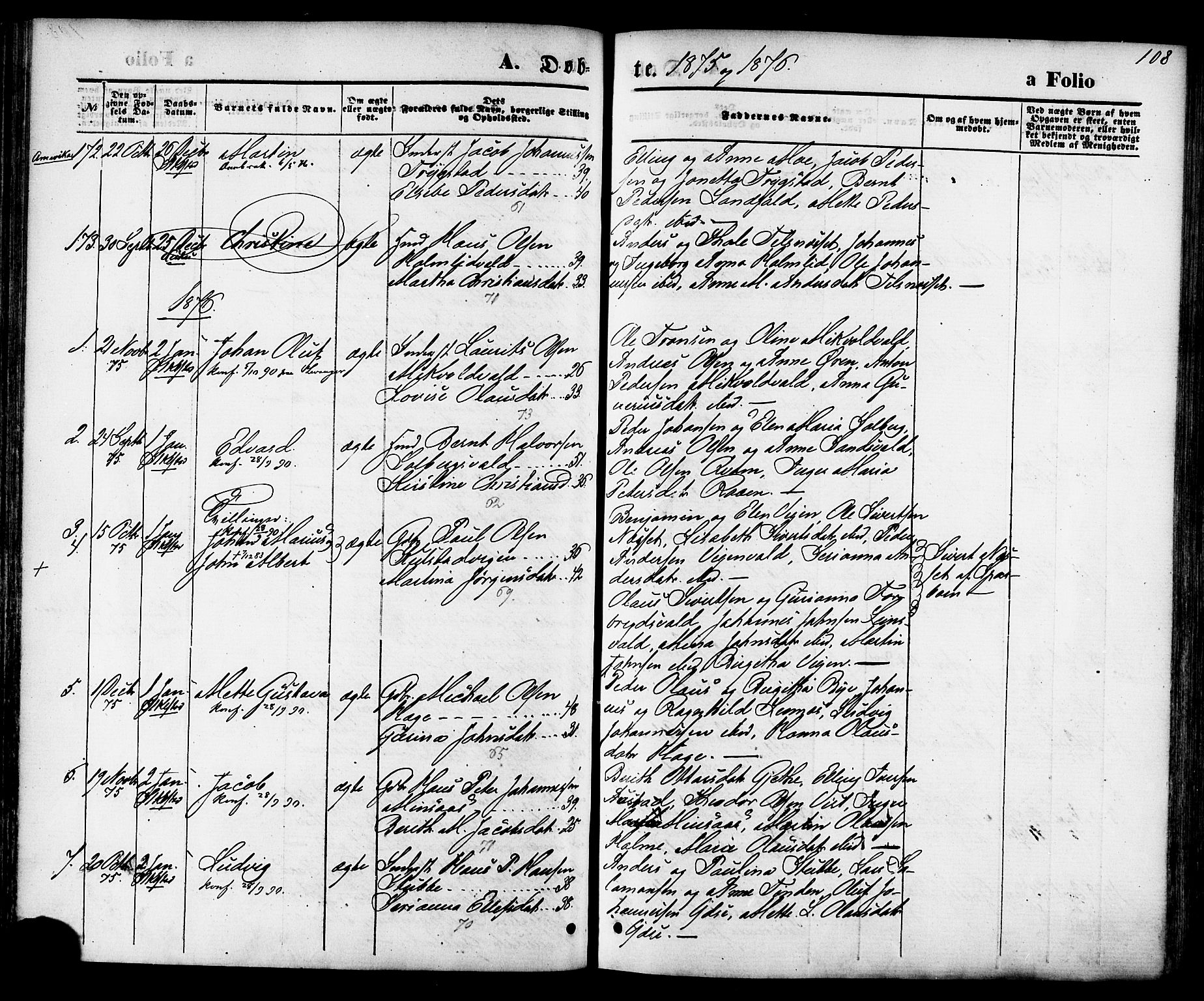 SAT, Ministerialprotokoller, klokkerbøker og fødselsregistre - Nord-Trøndelag, 723/L0242: Ministerialbok nr. 723A11, 1870-1880, s. 108