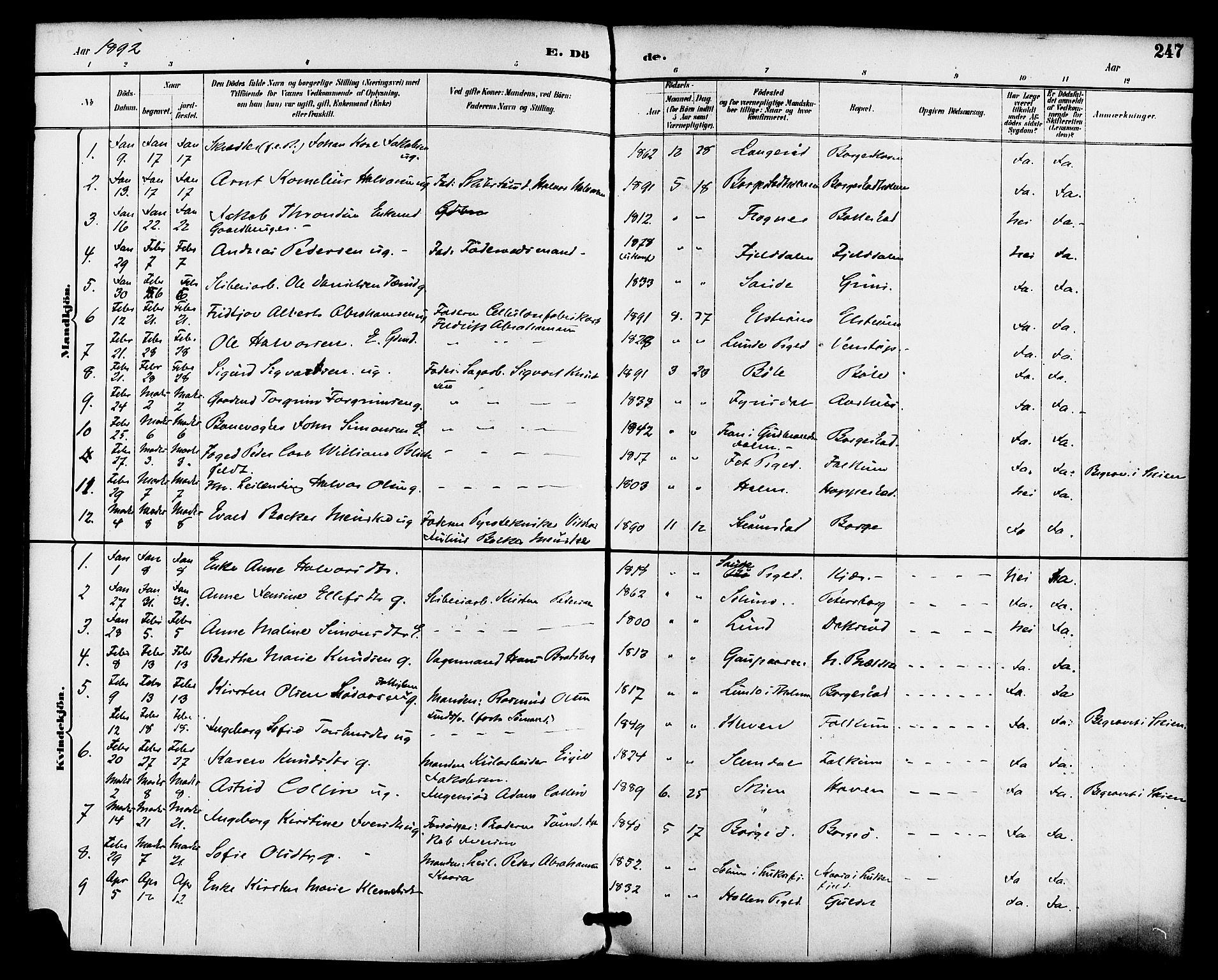 SAKO, Gjerpen kirkebøker, F/Fa/L0010: Ministerialbok nr. 10, 1886-1895, s. 247