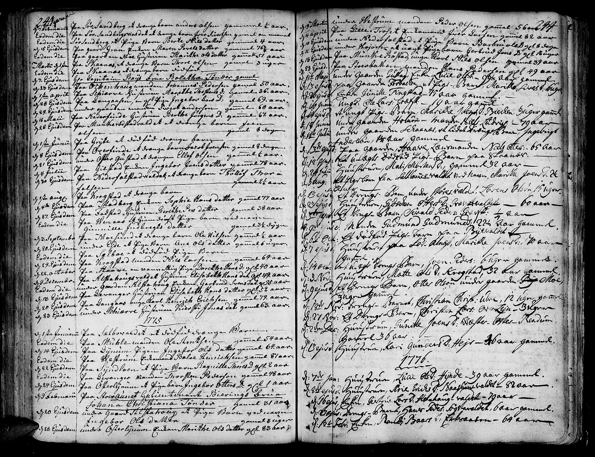 SAT, Ministerialprotokoller, klokkerbøker og fødselsregistre - Nord-Trøndelag, 717/L0141: Ministerialbok nr. 717A01, 1747-1803, s. 243-244