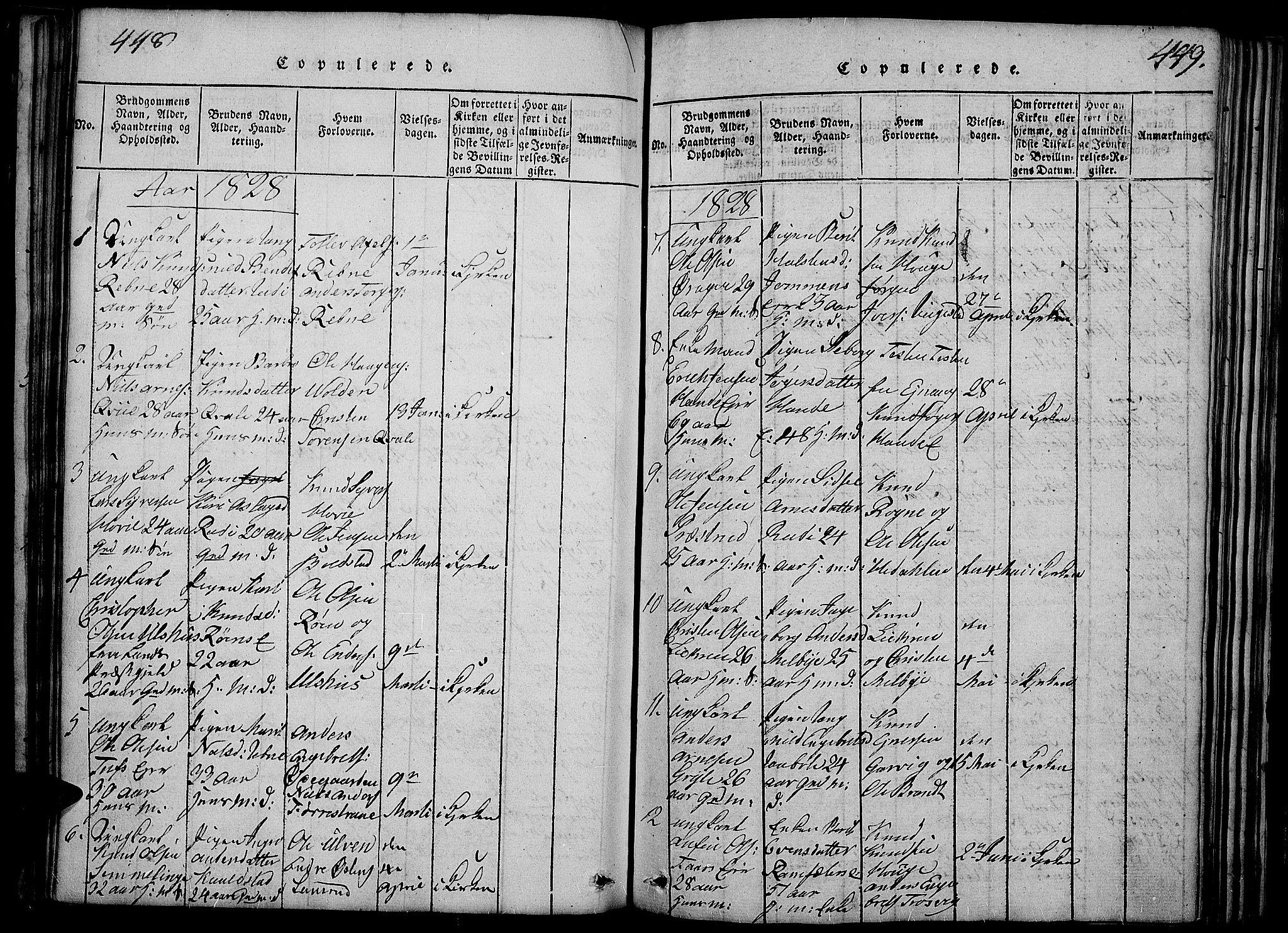 SAH, Slidre prestekontor, Ministerialbok nr. 2, 1814-1830, s. 448-449