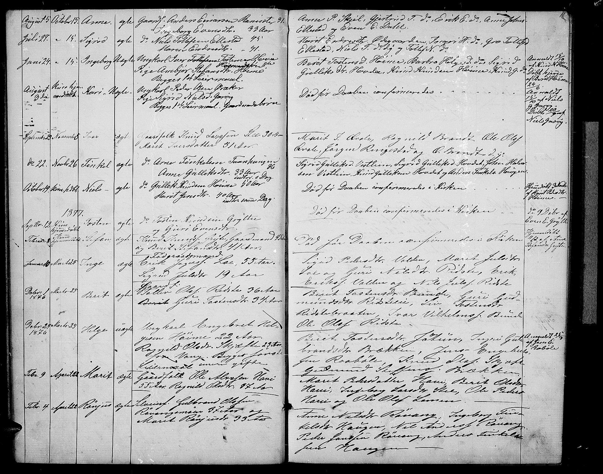 SAH, Vestre Slidre prestekontor, Klokkerbok nr. 2, 1869-1882, s. 11