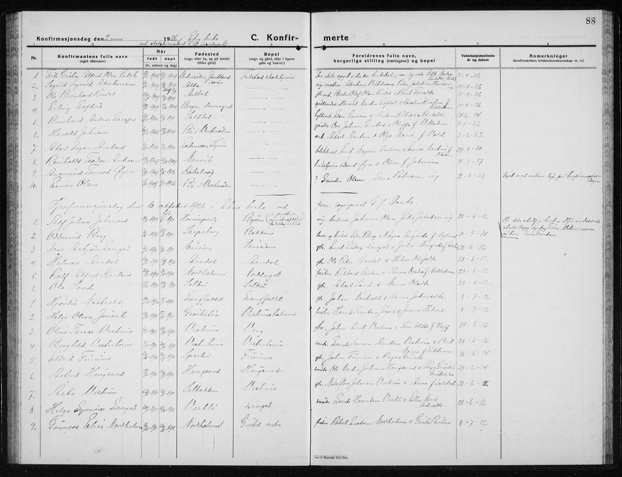 SAT, Ministerialprotokoller, klokkerbøker og fødselsregistre - Nord-Trøndelag, 719/L0180: Klokkerbok nr. 719C01, 1878-1940, s. 88