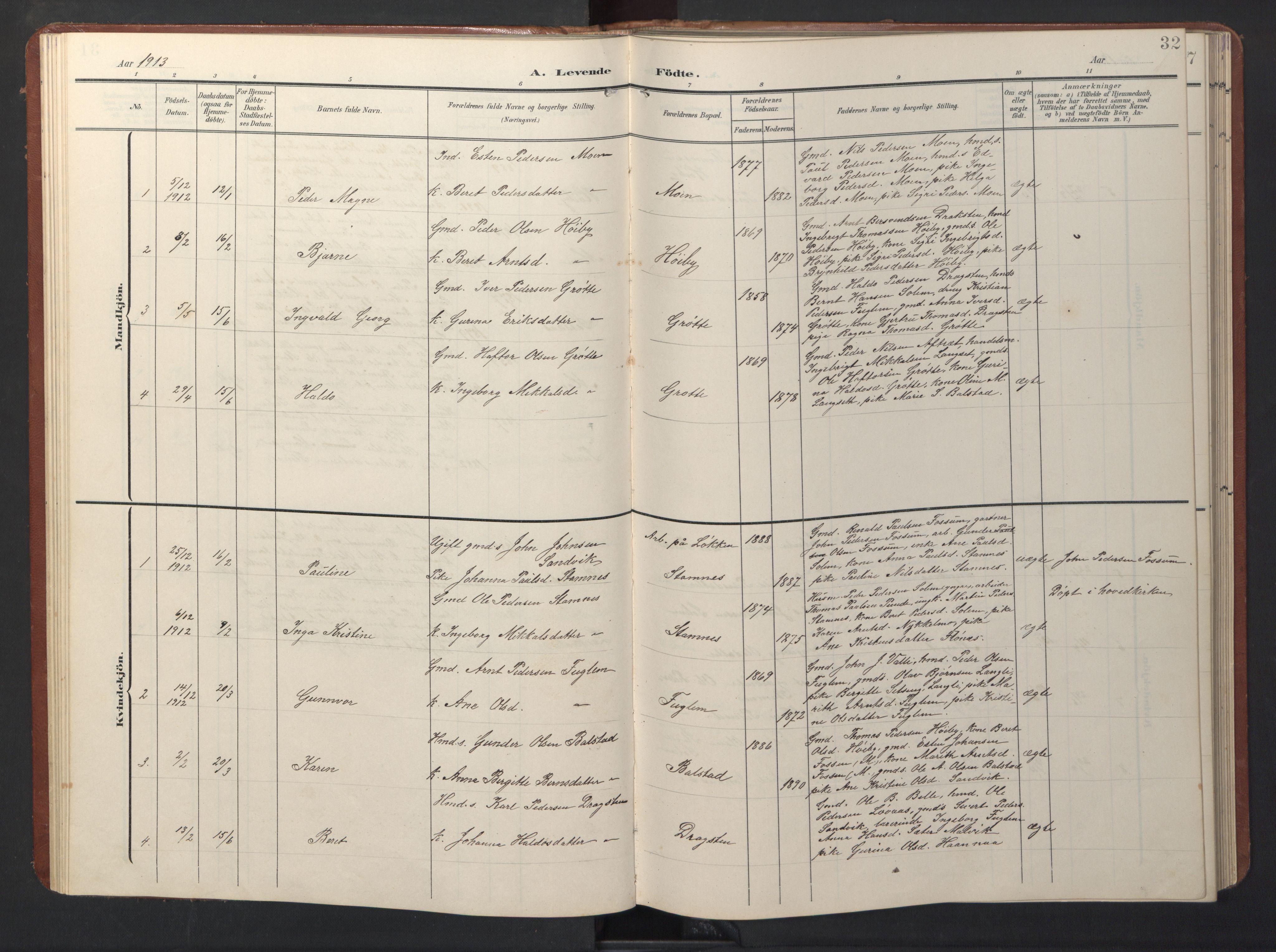 SAT, Ministerialprotokoller, klokkerbøker og fødselsregistre - Sør-Trøndelag, 696/L1161: Klokkerbok nr. 696C01, 1902-1950, s. 32