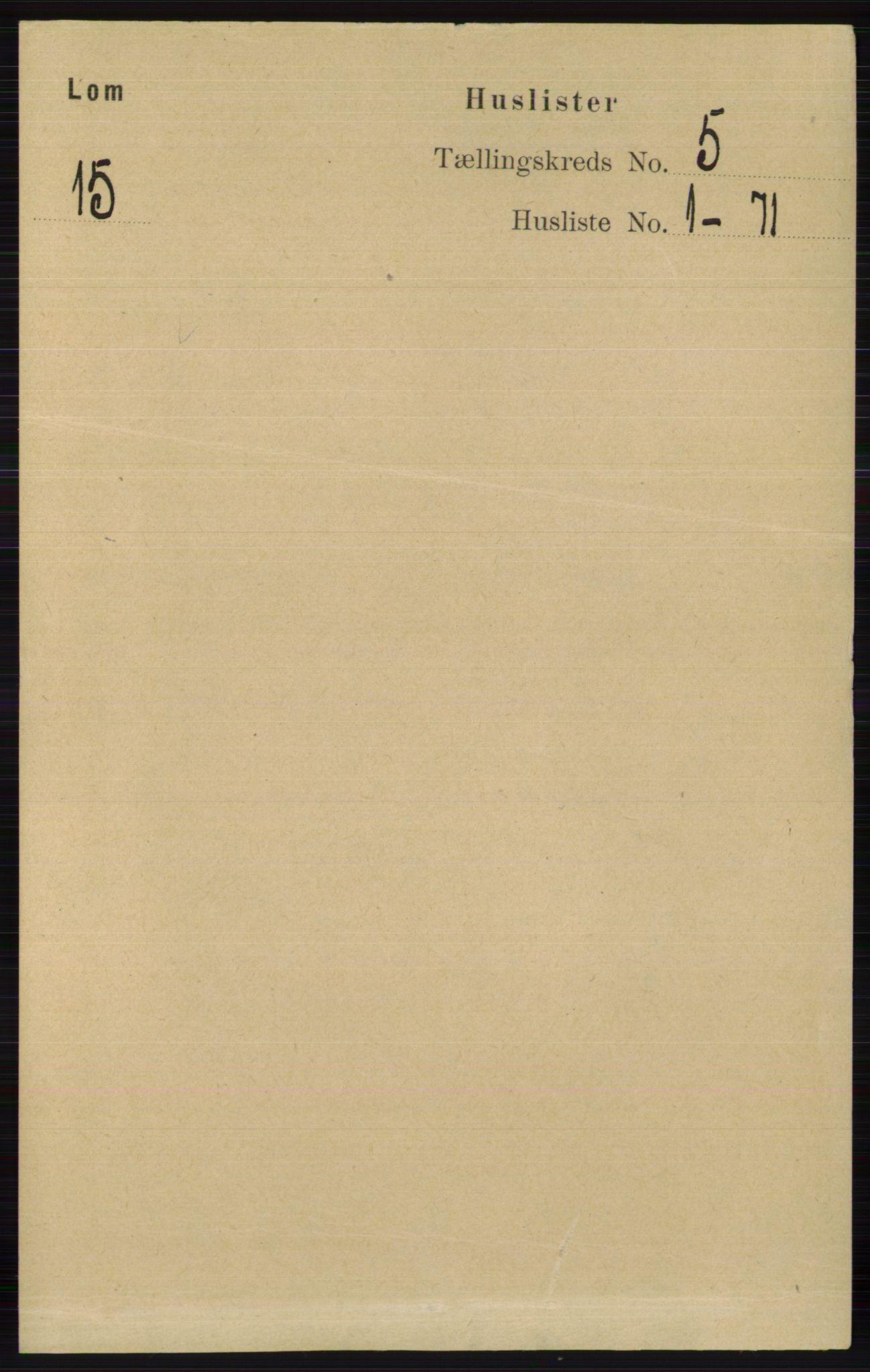 RA, Folketelling 1891 for 0514 Lom herred, 1891, s. 1777