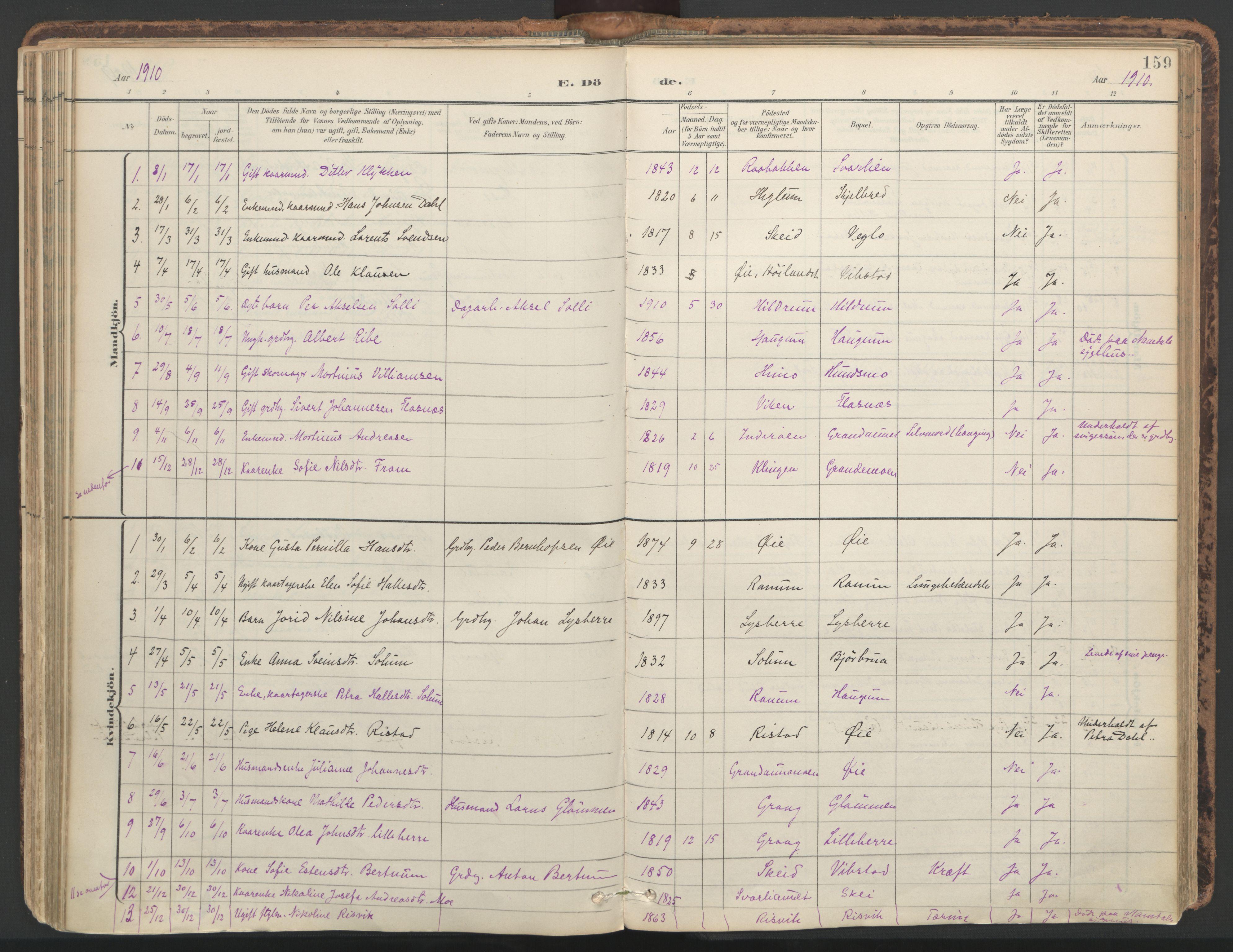 SAT, Ministerialprotokoller, klokkerbøker og fødselsregistre - Nord-Trøndelag, 764/L0556: Ministerialbok nr. 764A11, 1897-1924, s. 159