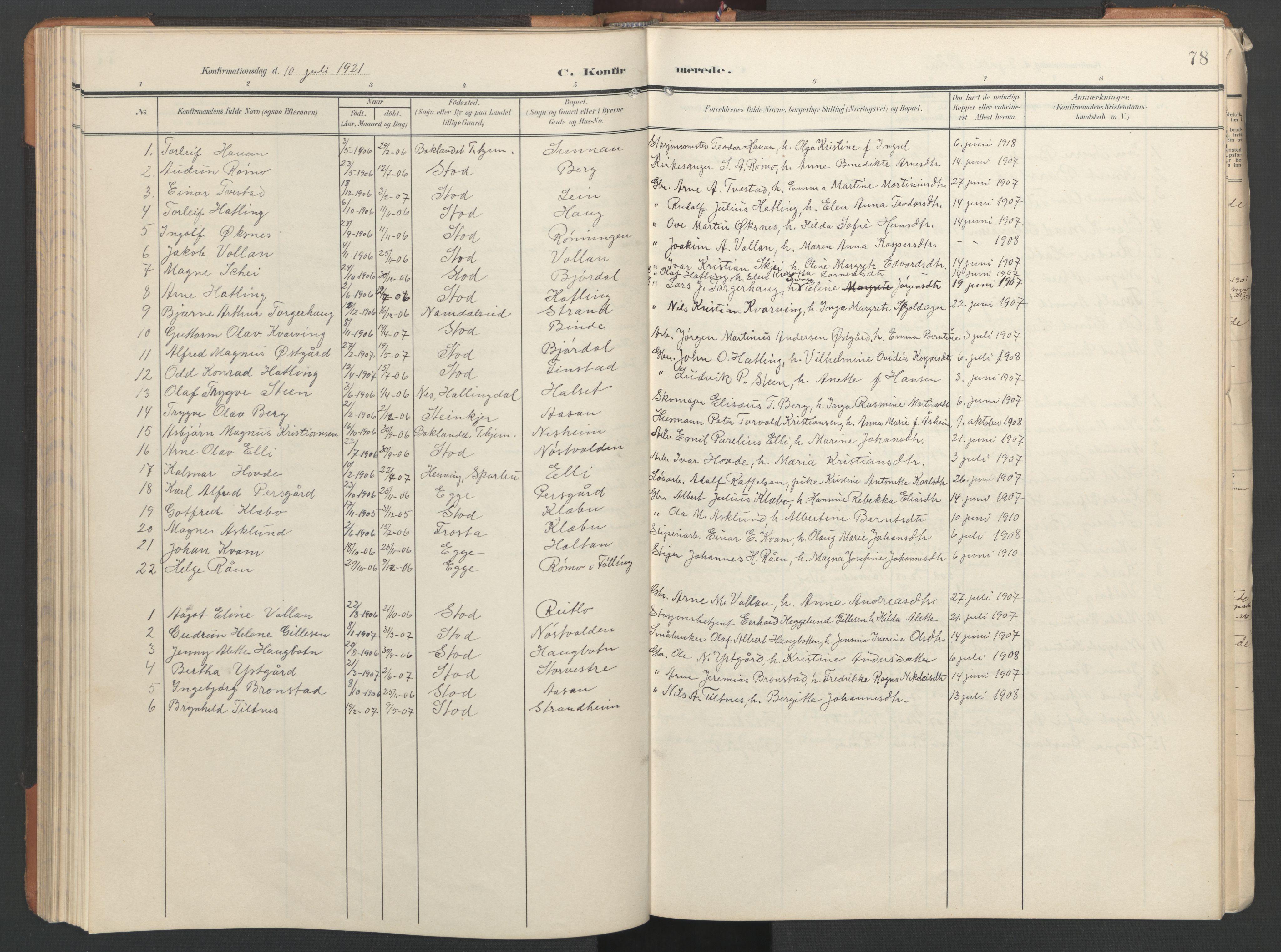 SAT, Ministerialprotokoller, klokkerbøker og fødselsregistre - Nord-Trøndelag, 746/L0455: Klokkerbok nr. 746C01, 1908-1933, s. 78
