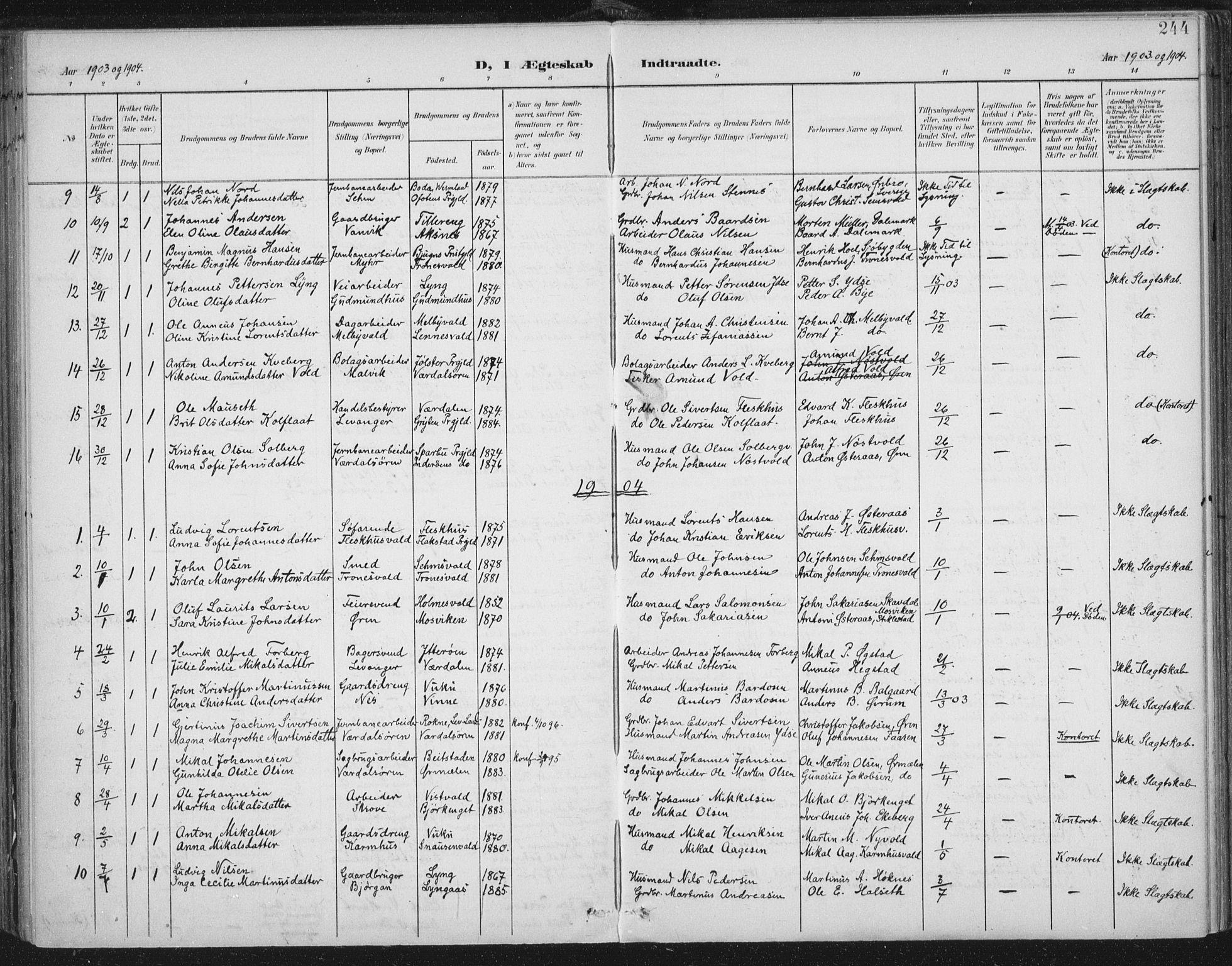 SAT, Ministerialprotokoller, klokkerbøker og fødselsregistre - Nord-Trøndelag, 723/L0246: Ministerialbok nr. 723A15, 1900-1917, s. 244