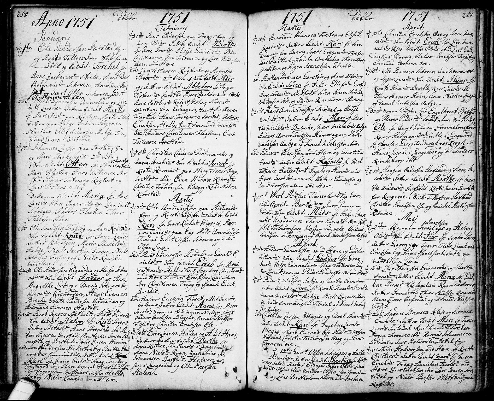 SAKO, Bamble kirkebøker, F/Fa/L0001: Ministerialbok nr. I 1, 1702-1774, s. 250-251