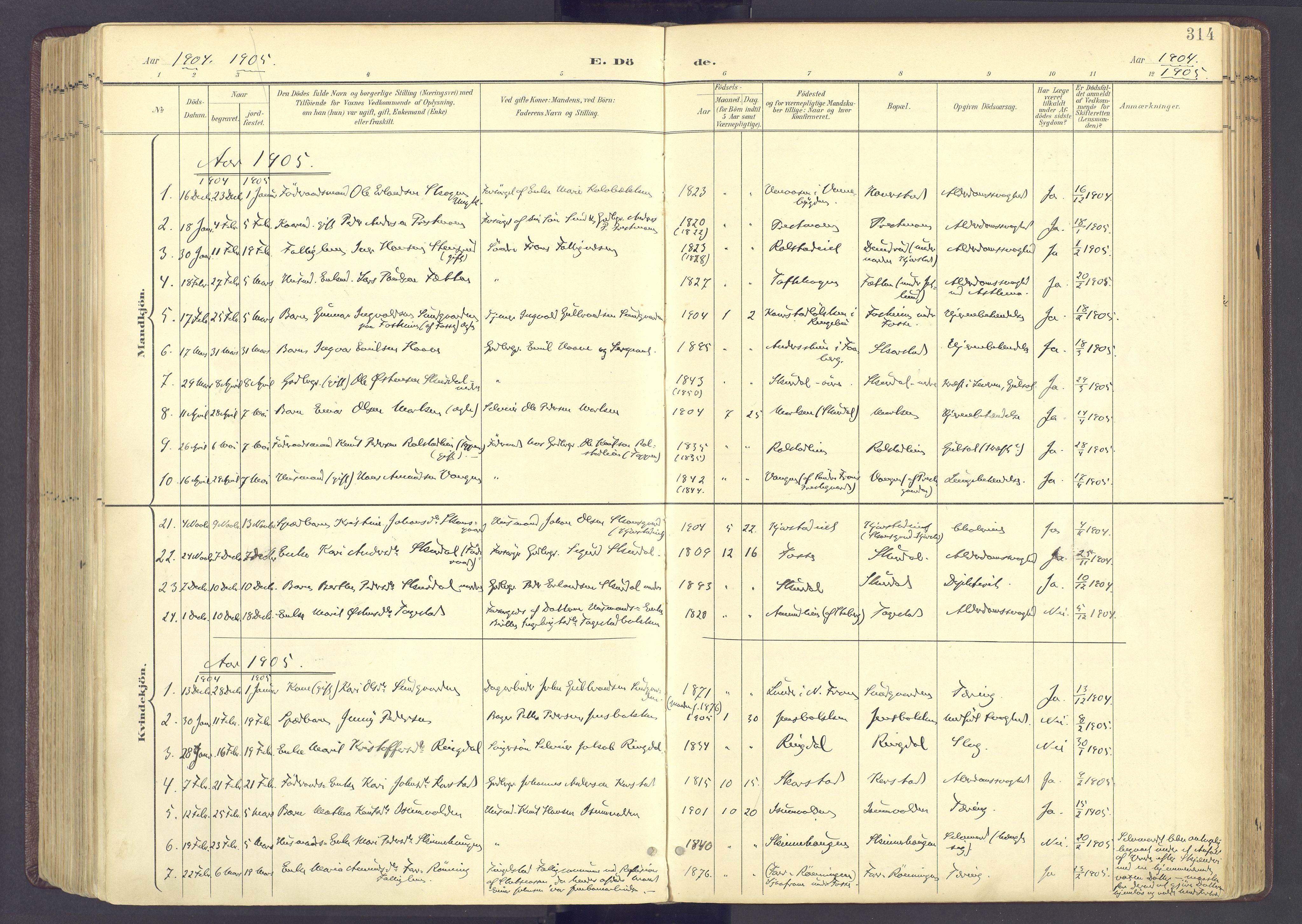 SAH, Sør-Fron prestekontor, H/Ha/Haa/L0004: Ministerialbok nr. 4, 1898-1919, s. 314