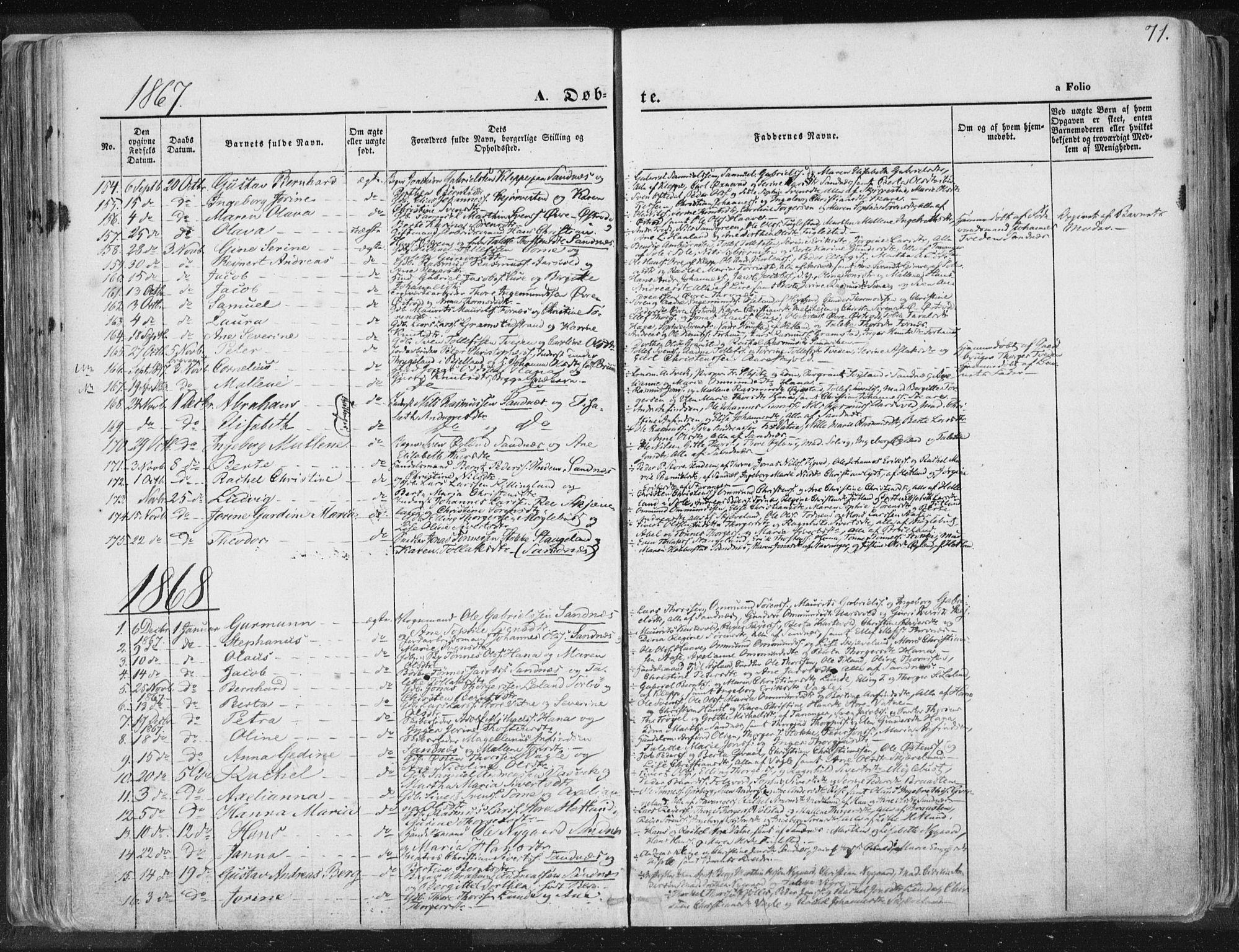 SAST, Høyland sokneprestkontor, 30BA/L0010: Ministerialbok nr. A 9.1, 1857-1877, s. 71