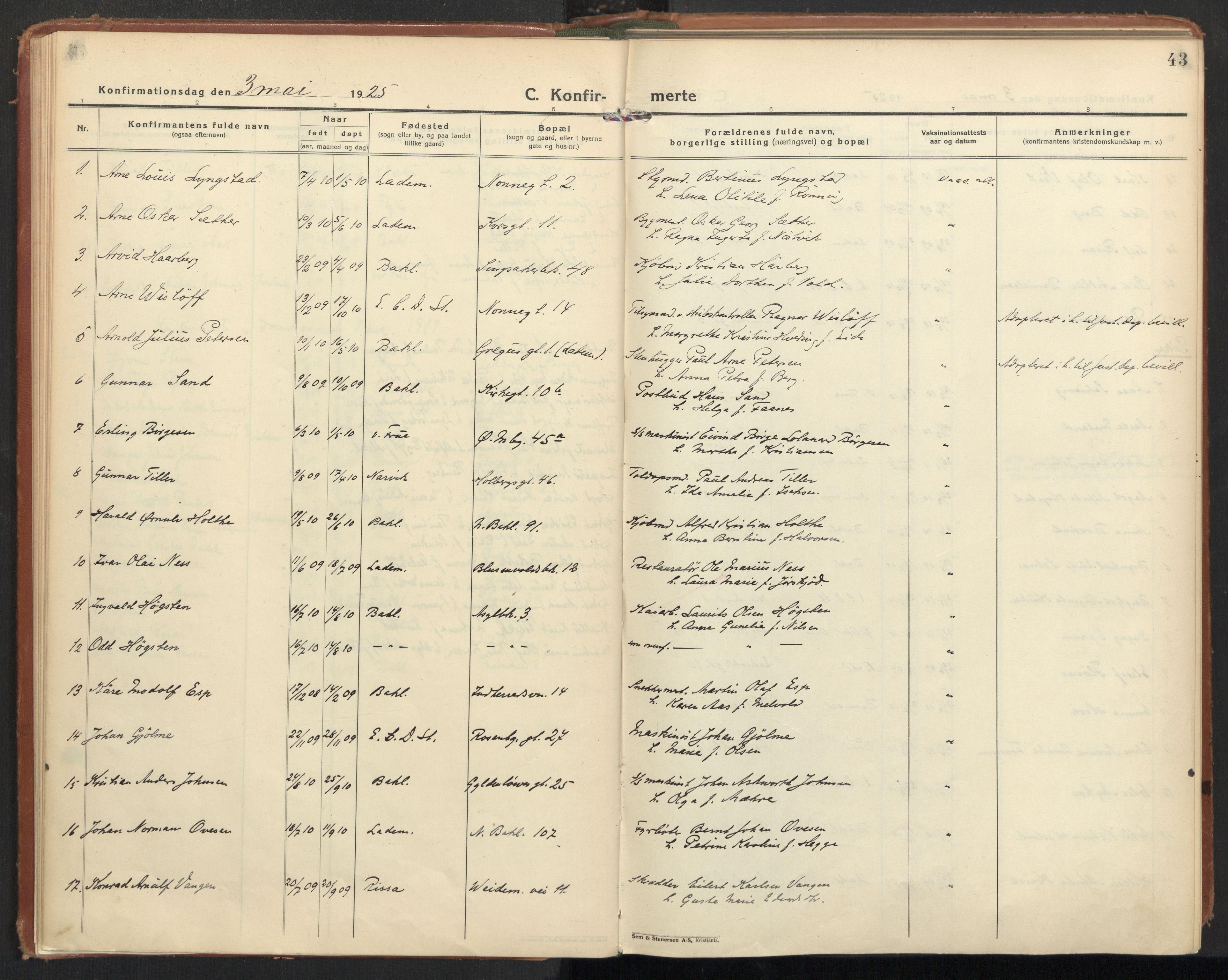 SAT, Ministerialprotokoller, klokkerbøker og fødselsregistre - Sør-Trøndelag, 604/L0208: Ministerialbok nr. 604A28, 1923-1937, s. 43