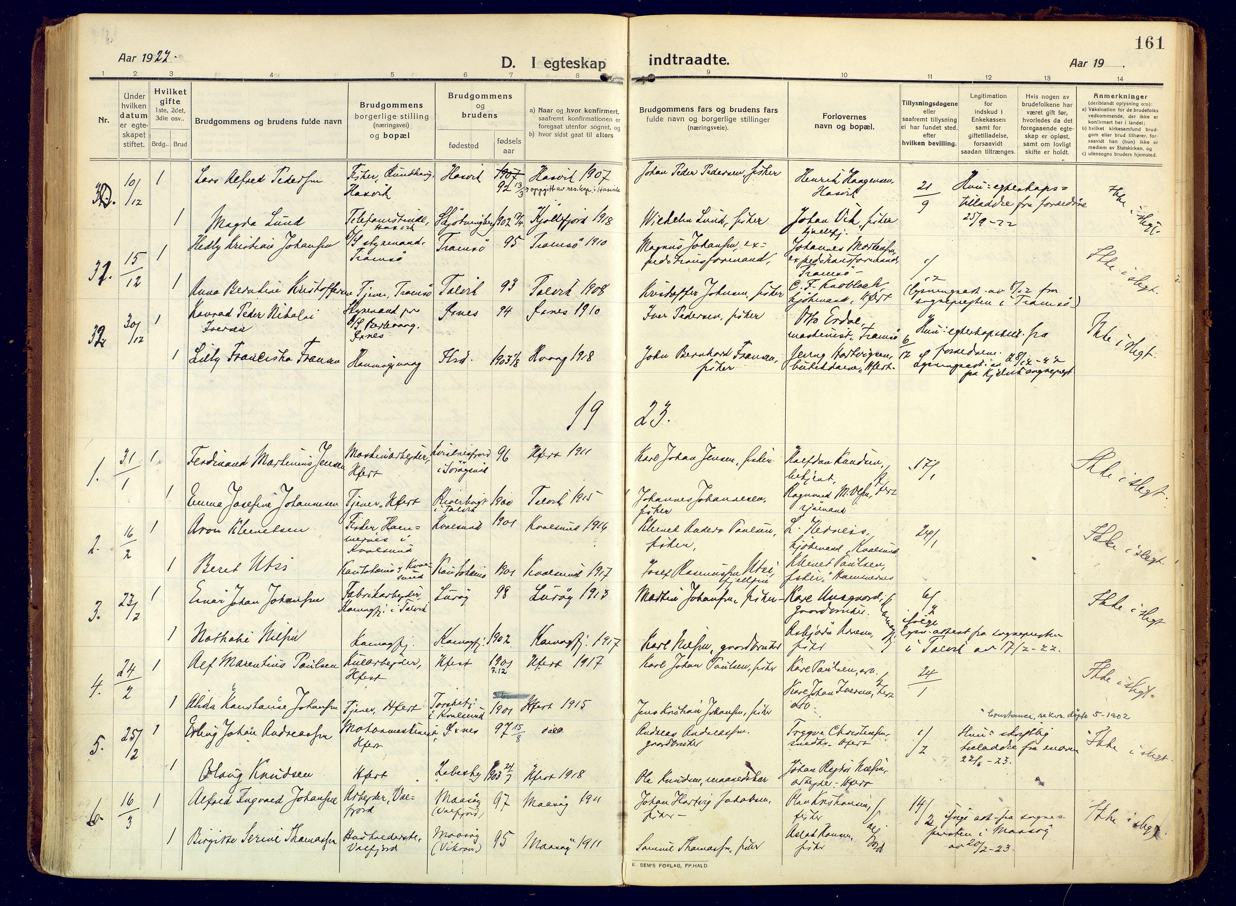 SATØ, Hammerfest sokneprestembete, Ministerialbok nr. 15, 1916-1923, s. 161