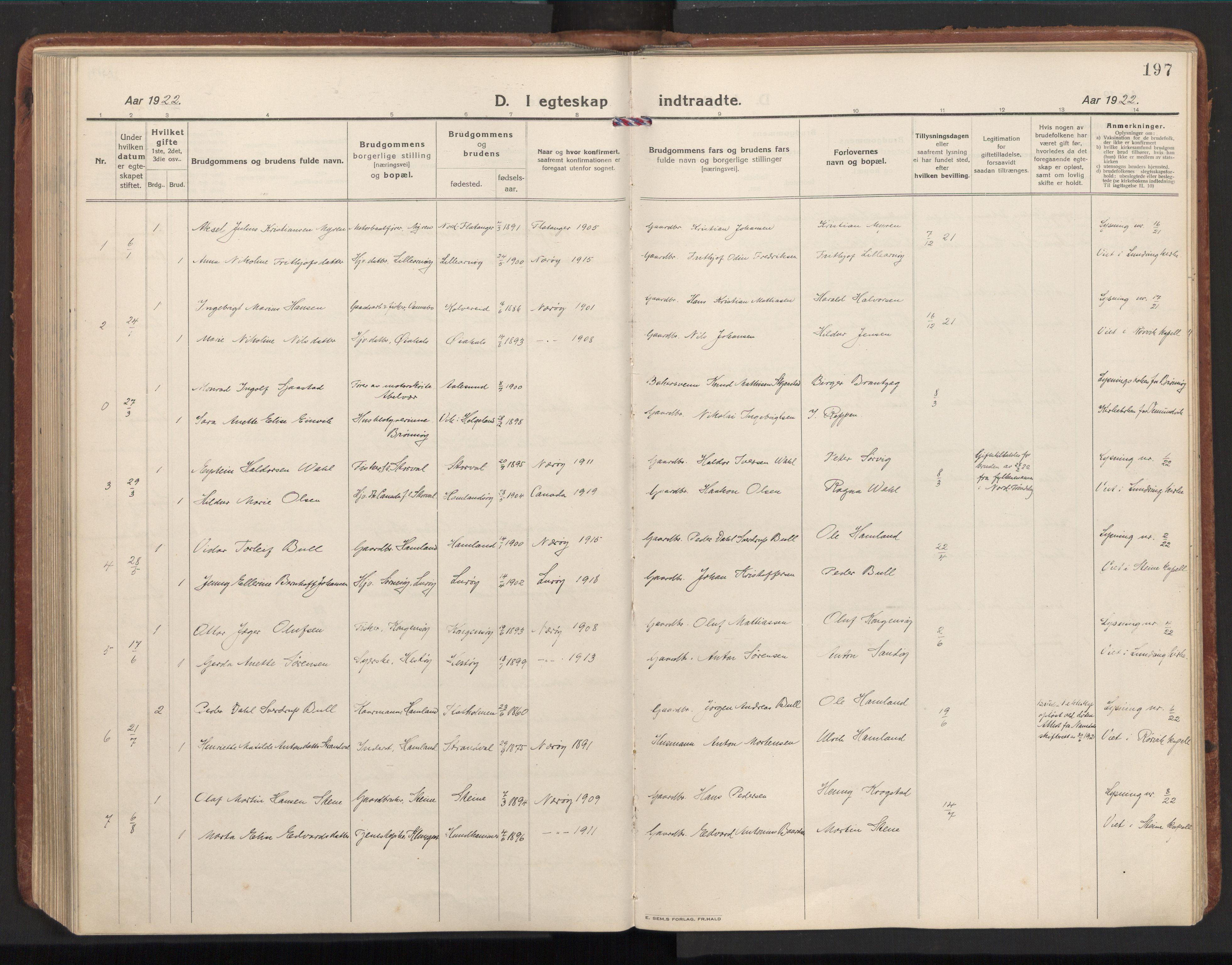 SAT, Ministerialprotokoller, klokkerbøker og fødselsregistre - Nord-Trøndelag, 784/L0678: Ministerialbok nr. 784A13, 1921-1938, s. 197