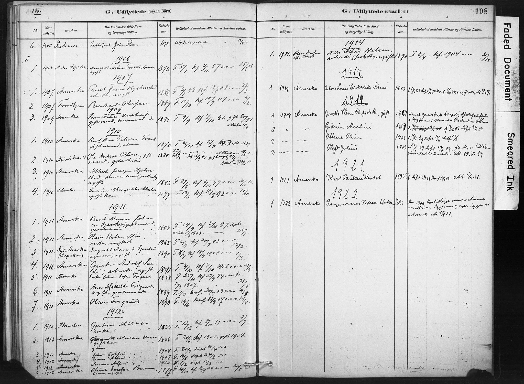 SAT, Ministerialprotokoller, klokkerbøker og fødselsregistre - Nord-Trøndelag, 718/L0175: Ministerialbok nr. 718A01, 1890-1923, s. 108