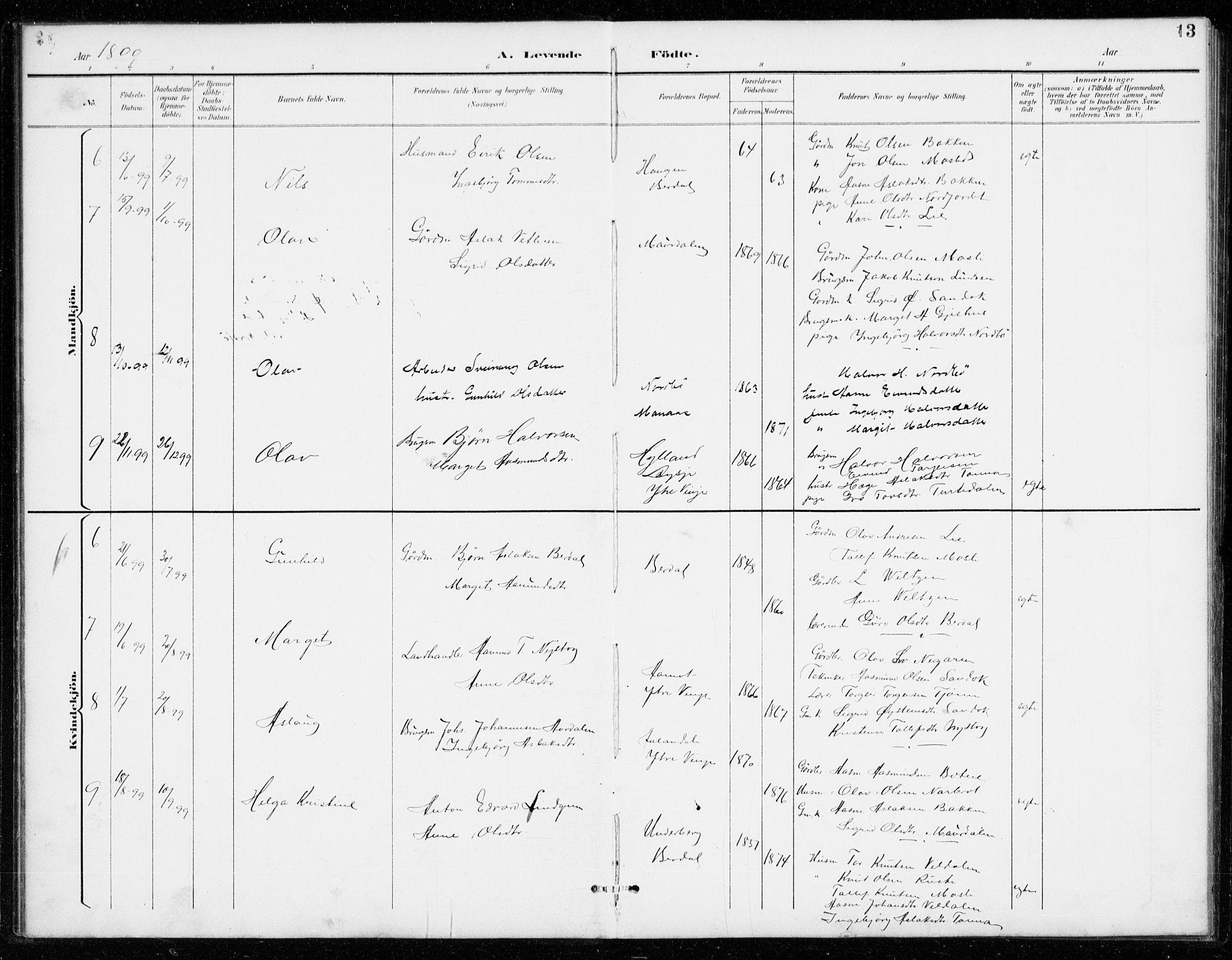 SAKO, Vinje kirkebøker, G/Gb/L0003: Klokkerbok nr. II 3, 1892-1943, s. 13