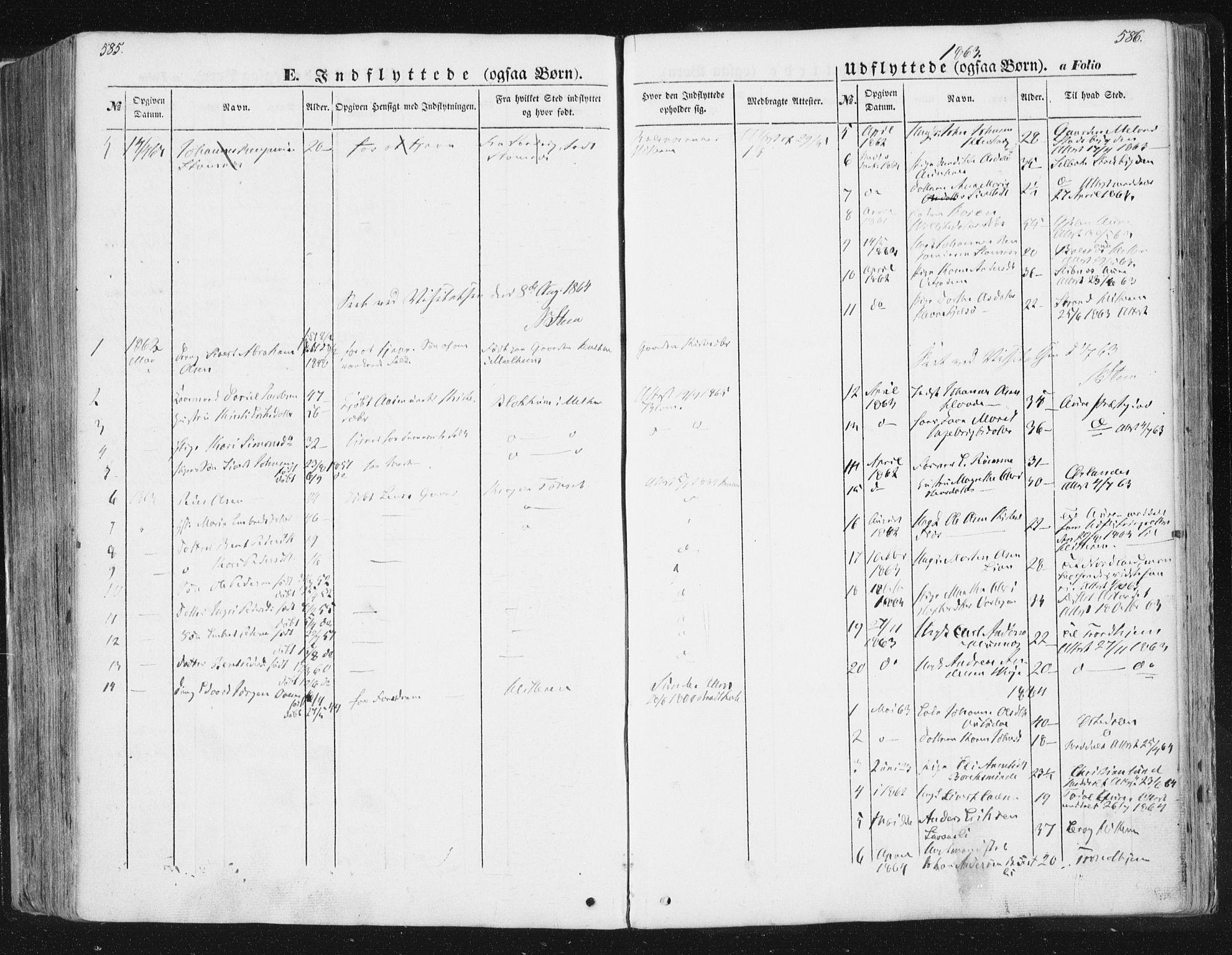 SAT, Ministerialprotokoller, klokkerbøker og fødselsregistre - Sør-Trøndelag, 630/L0494: Ministerialbok nr. 630A07, 1852-1868, s. 585-586