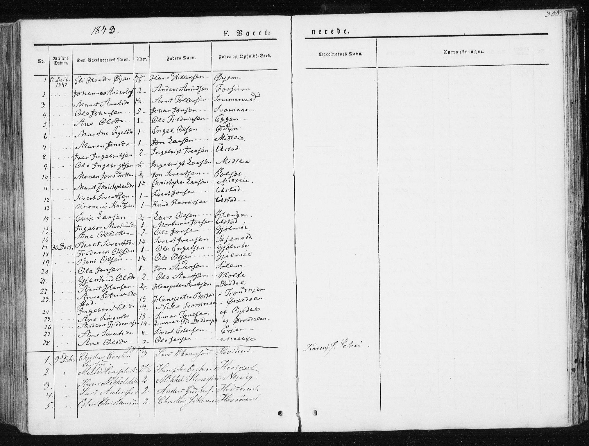 SAT, Ministerialprotokoller, klokkerbøker og fødselsregistre - Sør-Trøndelag, 668/L0805: Ministerialbok nr. 668A05, 1840-1853, s. 308