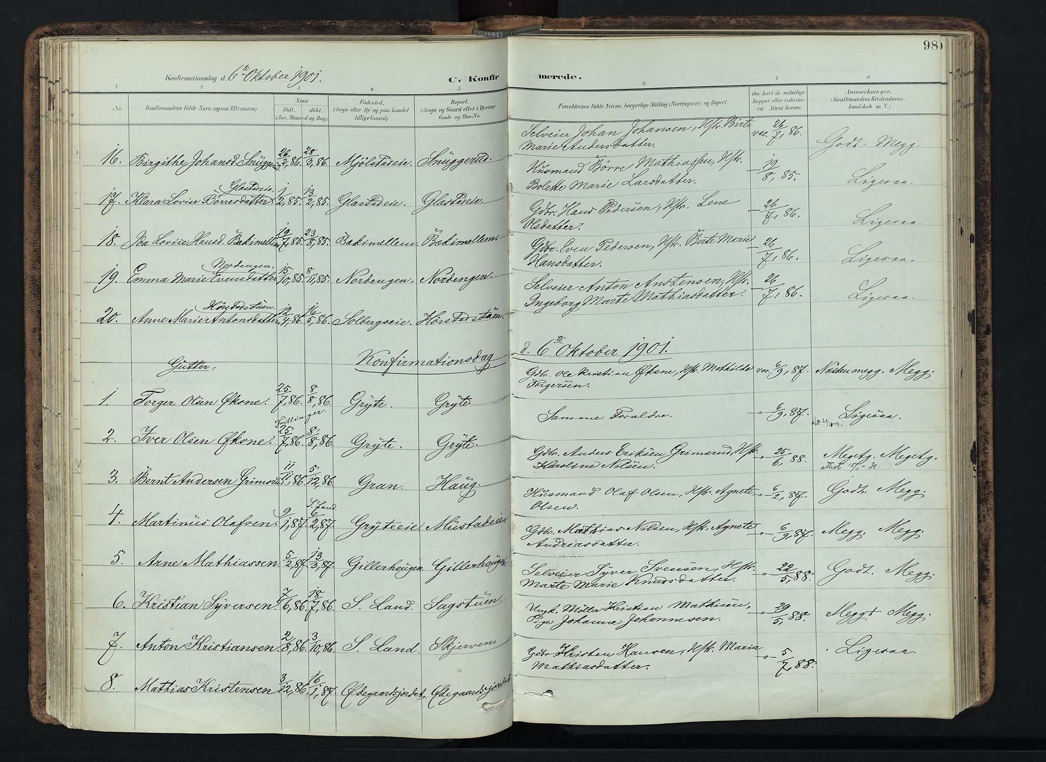 SAH, Vardal prestekontor, H/Ha/Haa/L0019: Ministerialbok nr. 19, 1893-1907, s. 98