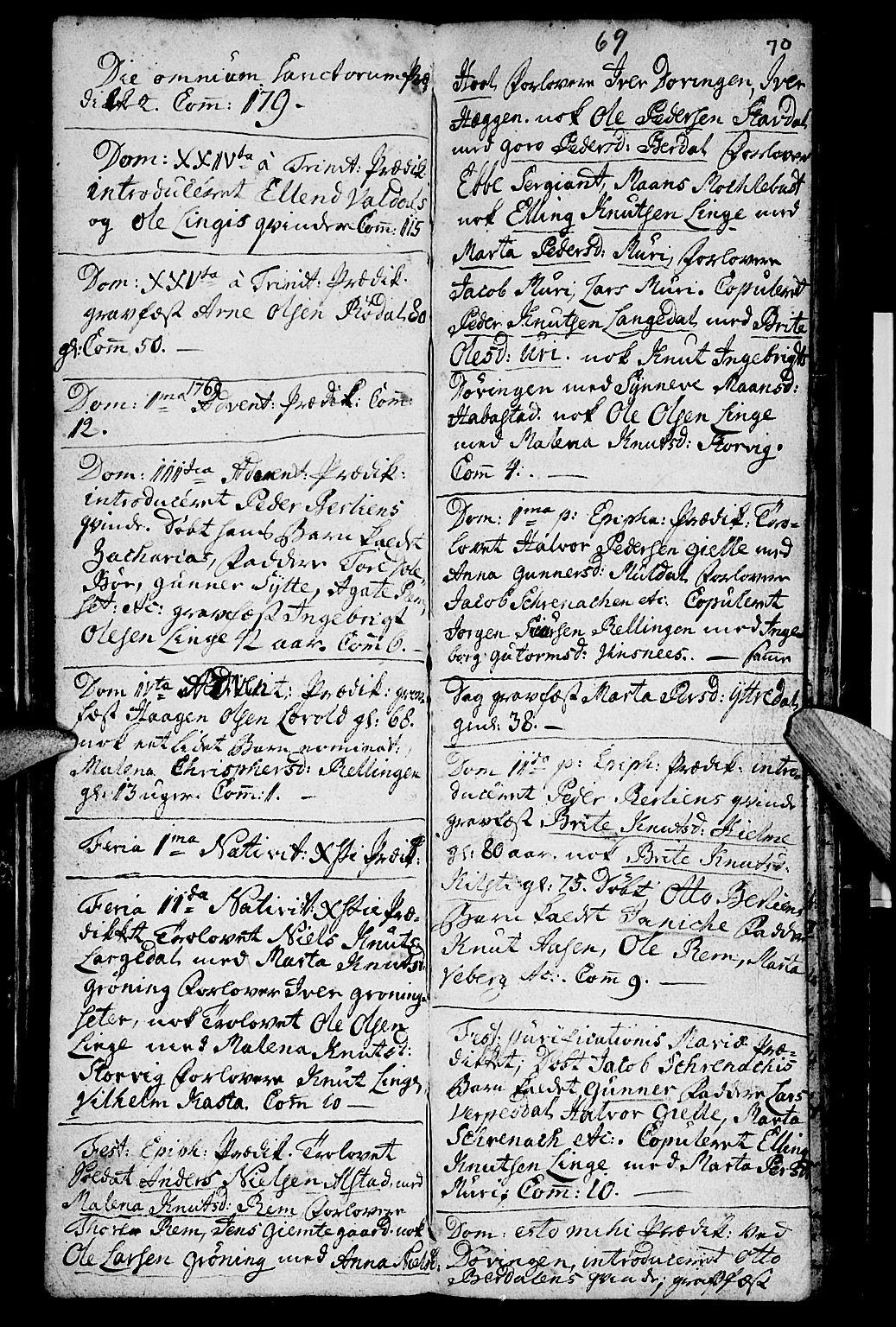 SAT, Ministerialprotokoller, klokkerbøker og fødselsregistre - Møre og Romsdal, 519/L0243: Ministerialbok nr. 519A02, 1760-1770, s. 69-70