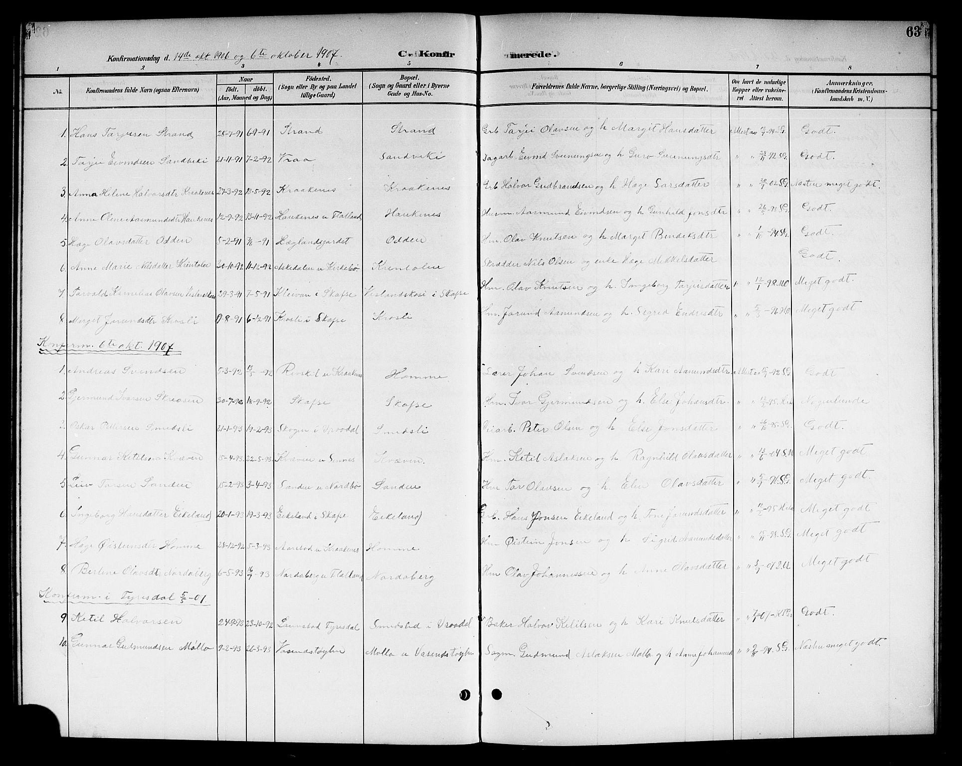 SAKO, Kviteseid kirkebøker, G/Gc/L0001: Klokkerbok nr. III 1, 1893-1916, s. 63