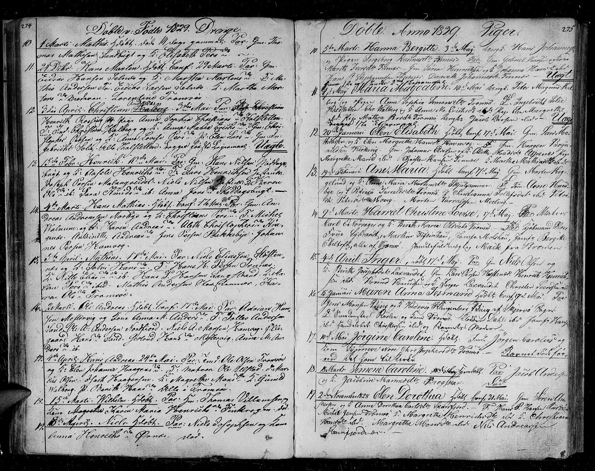 SATØ, Tromsø sokneprestkontor/stiftsprosti/domprosti, G/Ga/L0008kirke: Ministerialbok nr. 8, 1829-1837, s. 274-275