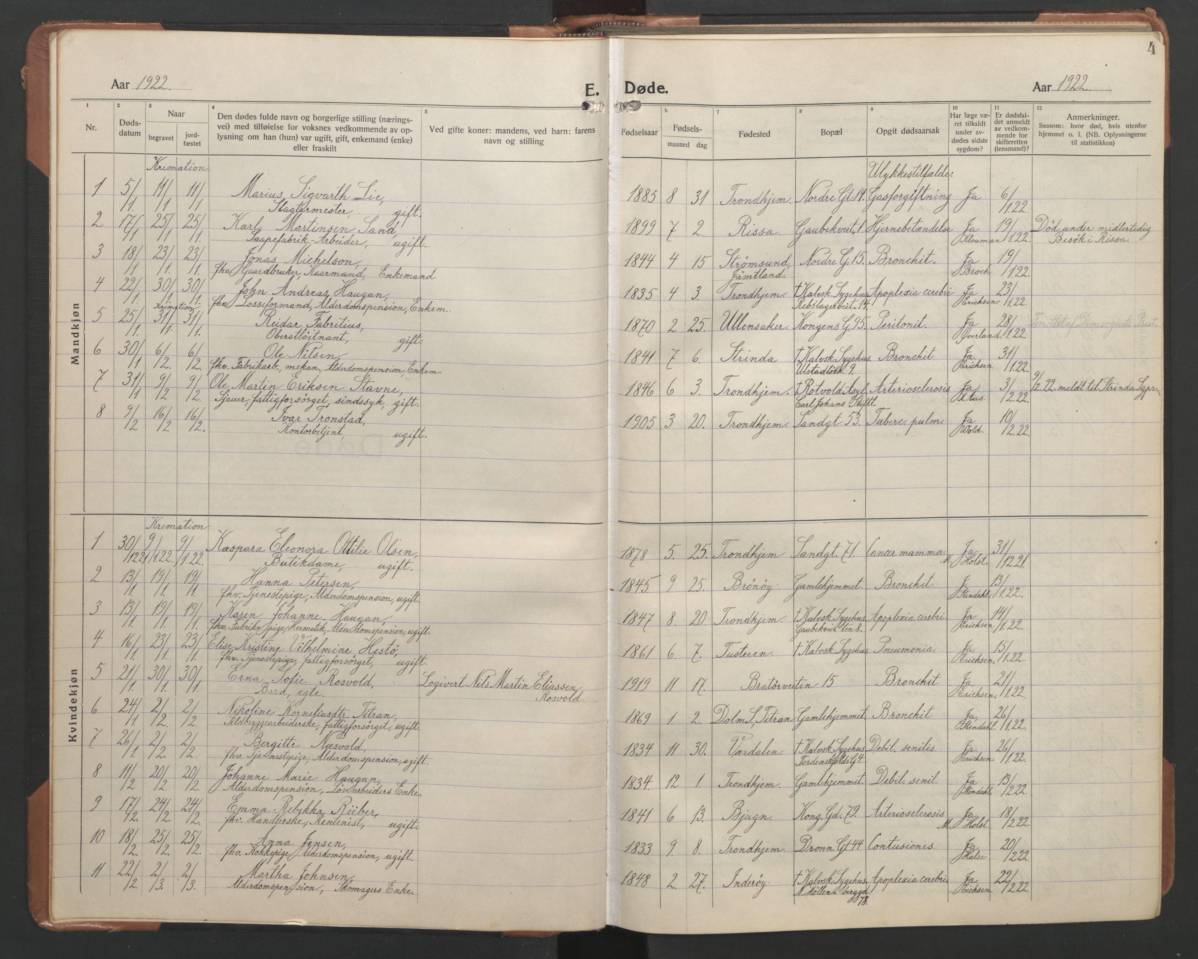 SAT, Ministerialprotokoller, klokkerbøker og fødselsregistre - Sør-Trøndelag, 602/L0150: Klokkerbok nr. 602C18, 1922-1949, s. 4