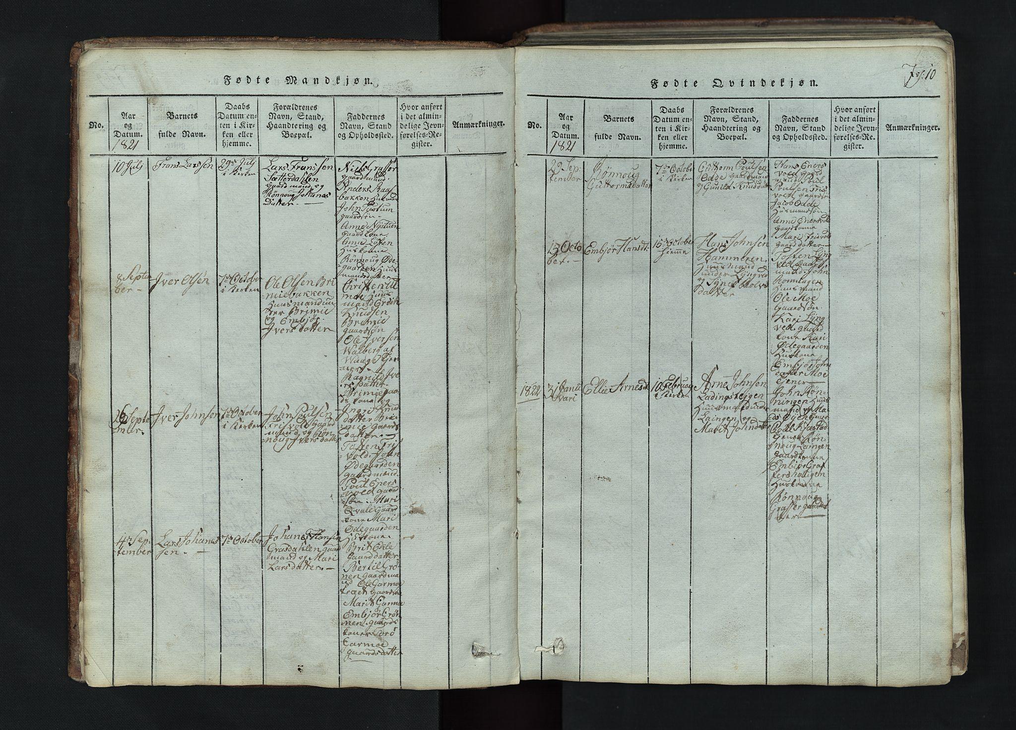 SAH, Lom prestekontor, L/L0002: Klokkerbok nr. 2, 1815-1844, s. 10