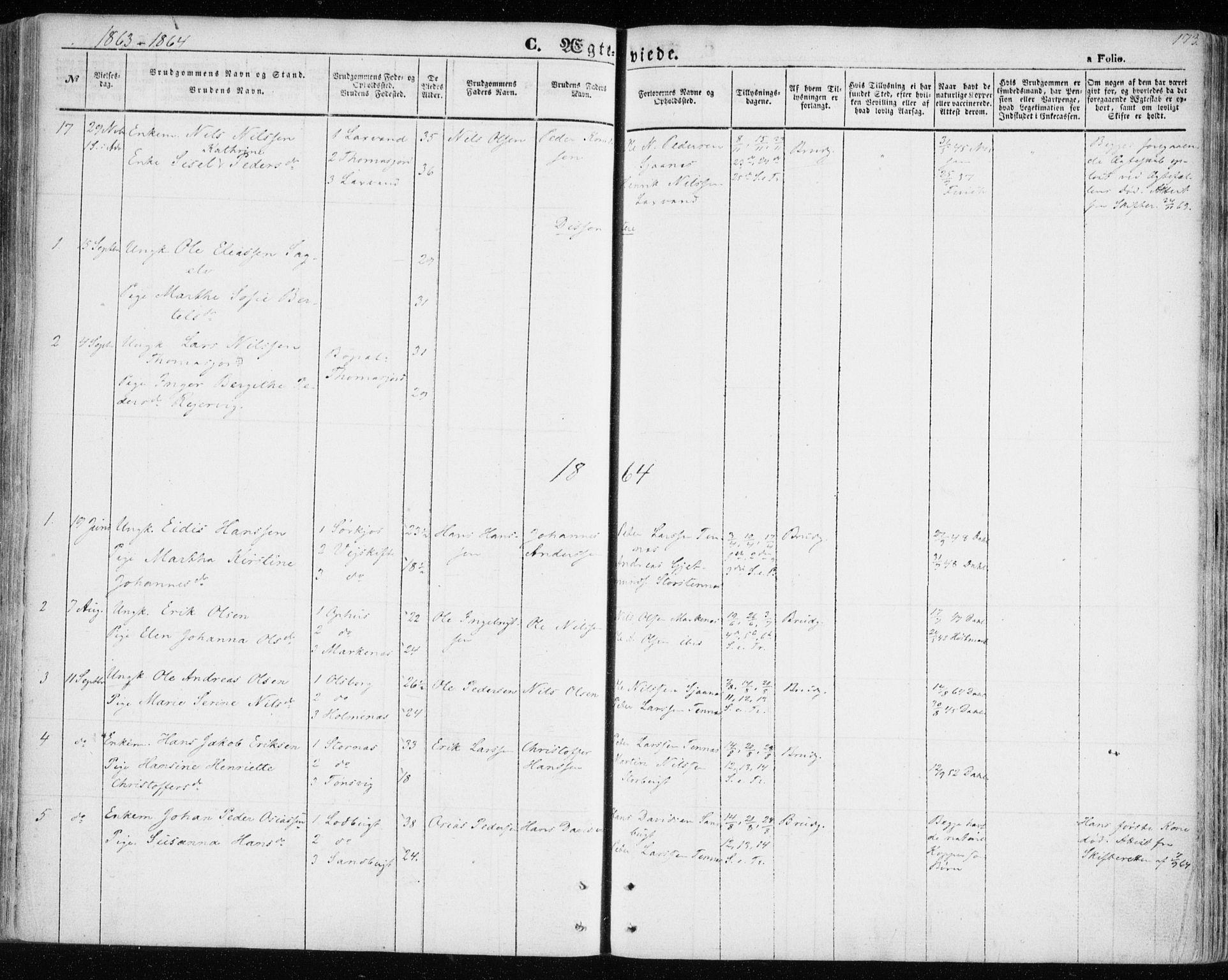 SATØ, Balsfjord sokneprestembete, G/Ga/L0003kirke: Ministerialbok nr. 3, 1856-1870, s. 173