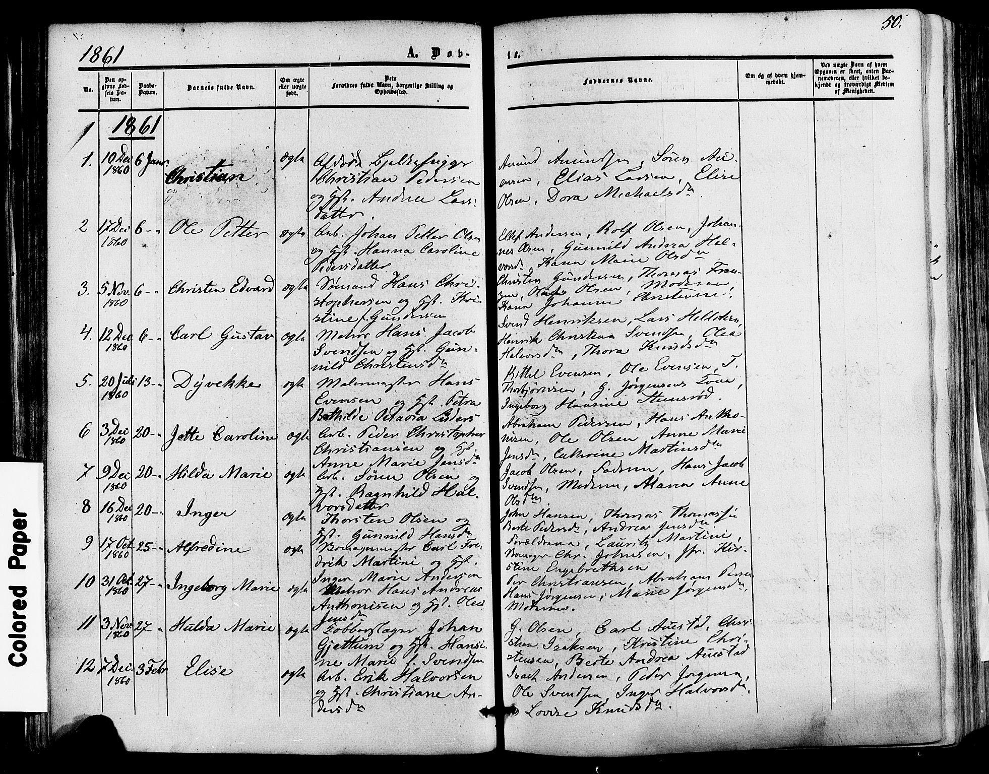 SAKO, Skien kirkebøker, F/Fa/L0007: Ministerialbok nr. 7, 1856-1865, s. 50
