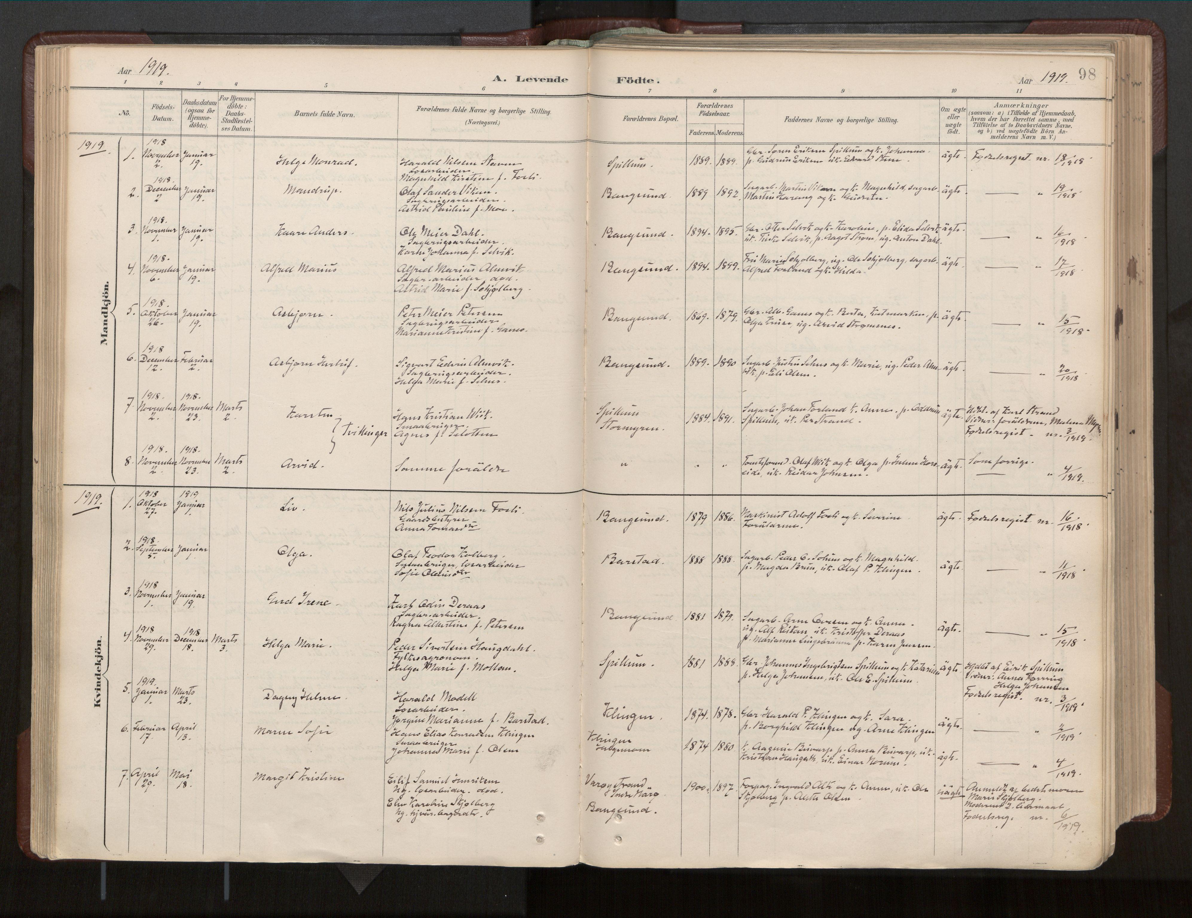 SAT, Ministerialprotokoller, klokkerbøker og fødselsregistre - Nord-Trøndelag, 770/L0589: Ministerialbok nr. 770A03, 1887-1929, s. 98