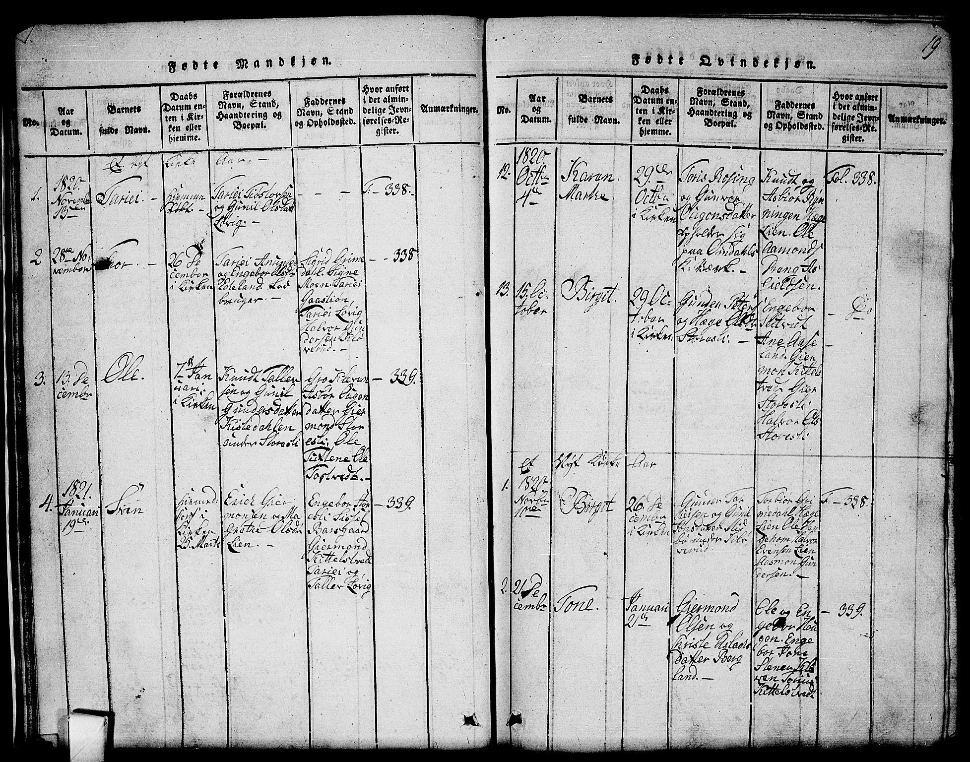 SAKO, Mo kirkebøker, G/Gb/L0001: Klokkerbok nr. II 1, 1814-1843, s. 19
