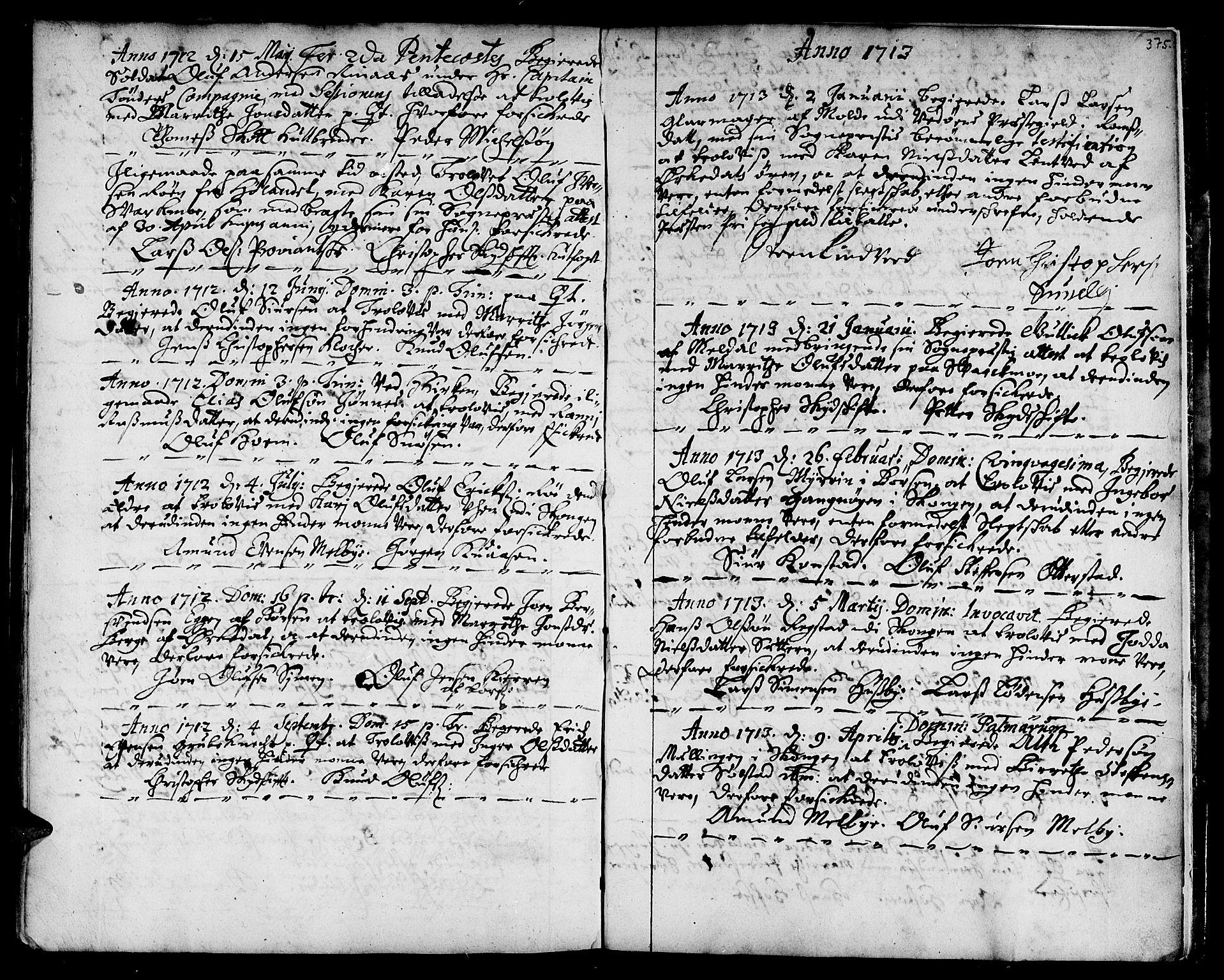 SAT, Ministerialprotokoller, klokkerbøker og fødselsregistre - Sør-Trøndelag, 668/L0801: Ministerialbok nr. 668A01, 1695-1716, s. 374-375