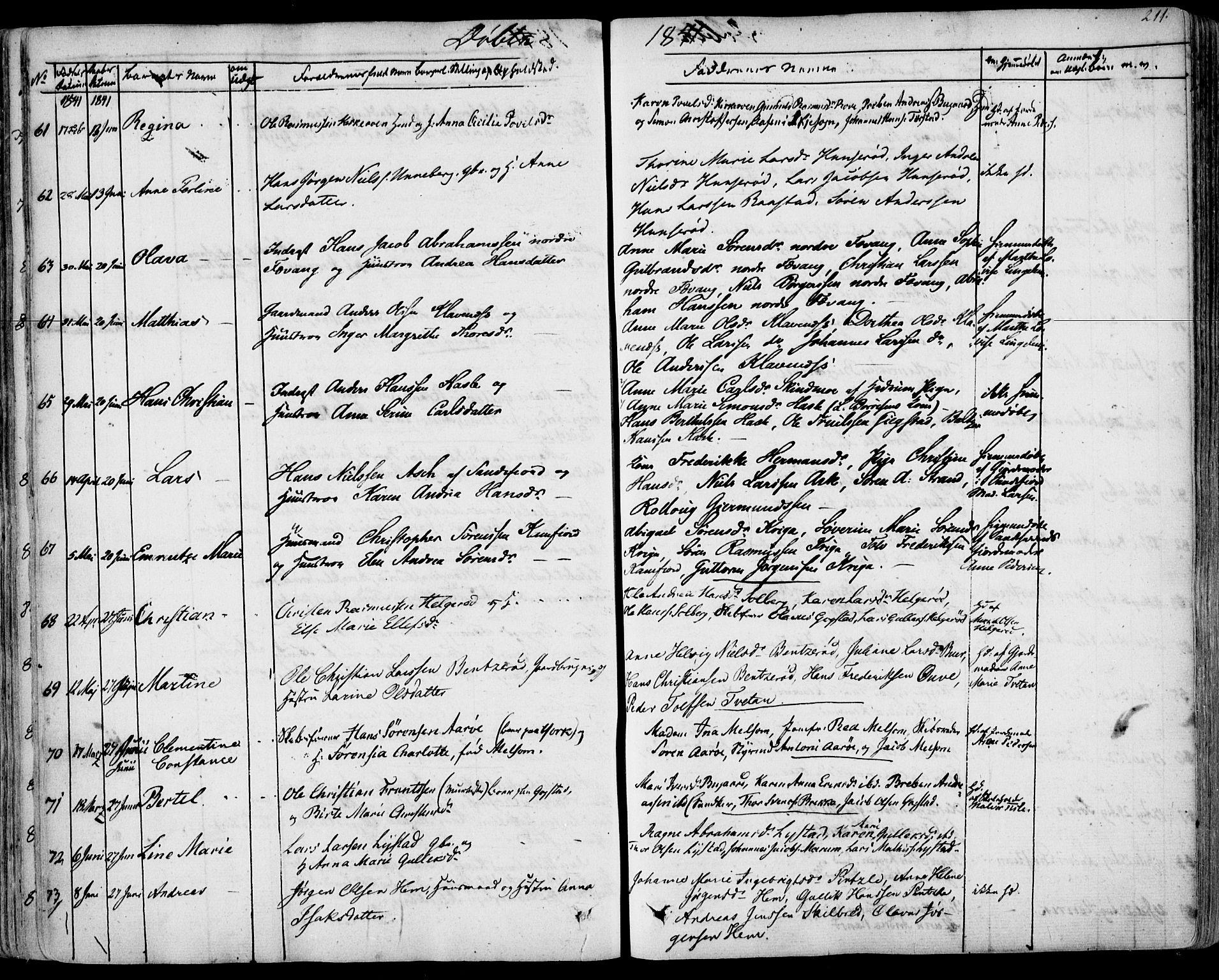 SAKO, Sandar kirkebøker, F/Fa/L0005: Ministerialbok nr. 5, 1832-1847, s. 210-211