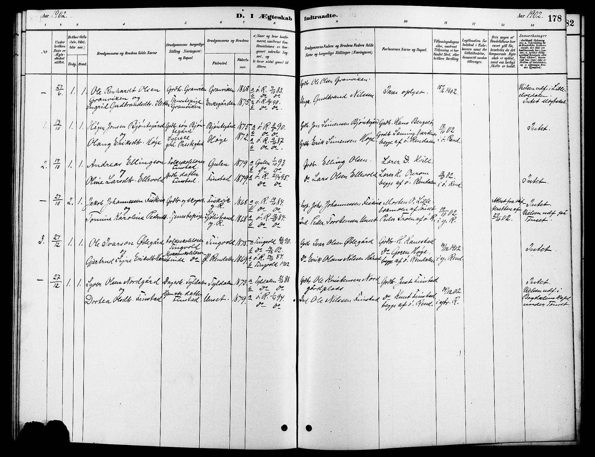 SAH, Rendalen prestekontor, H/Ha/Hab/L0003: Klokkerbok nr. 3, 1879-1904, s. 178