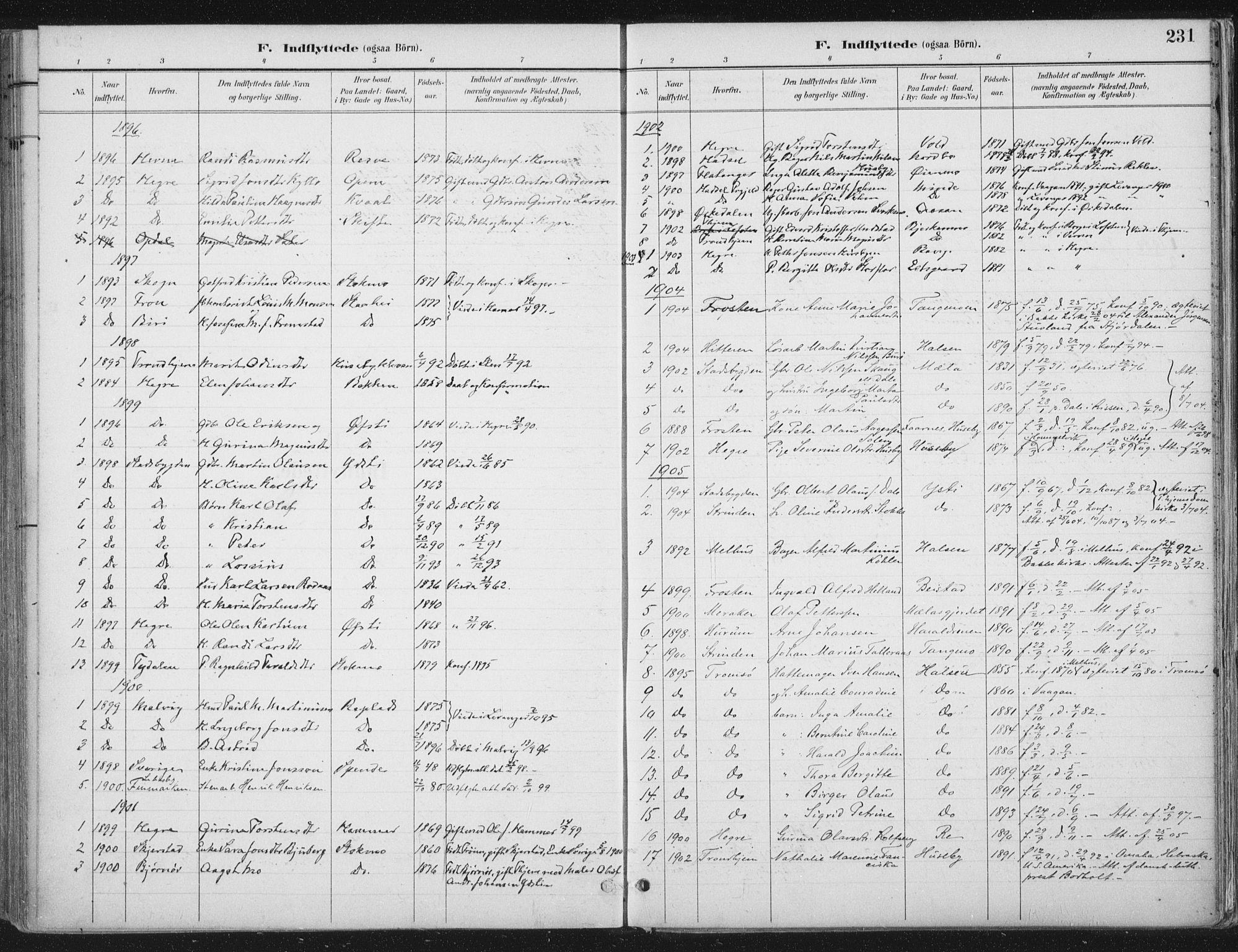 SAT, Ministerialprotokoller, klokkerbøker og fødselsregistre - Nord-Trøndelag, 709/L0082: Ministerialbok nr. 709A22, 1896-1916, s. 231