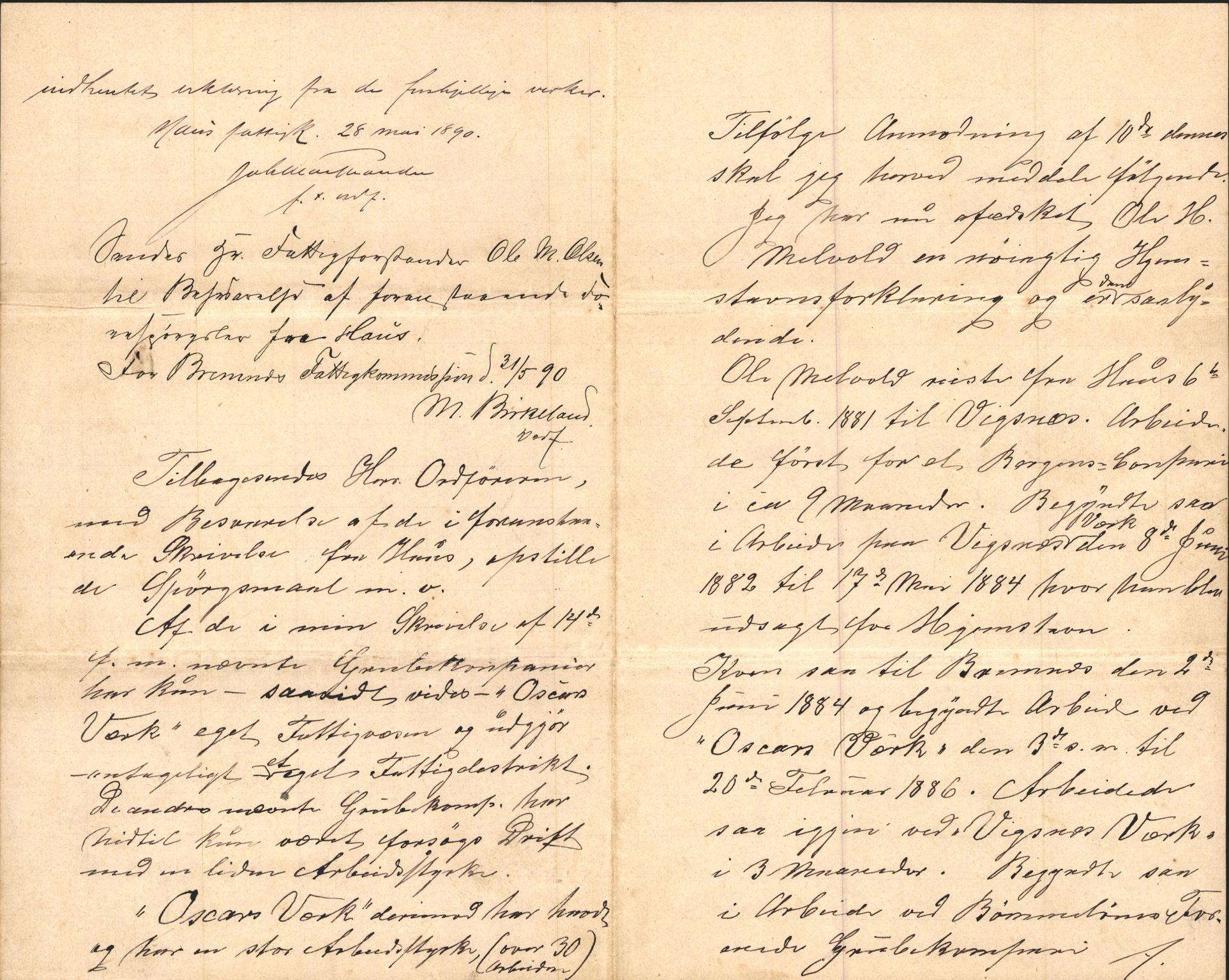 IKAH, Finnaas kommune. Formannskapet, D/Da/L0001: Korrespondanse / saker, 1890-1896, s. 1