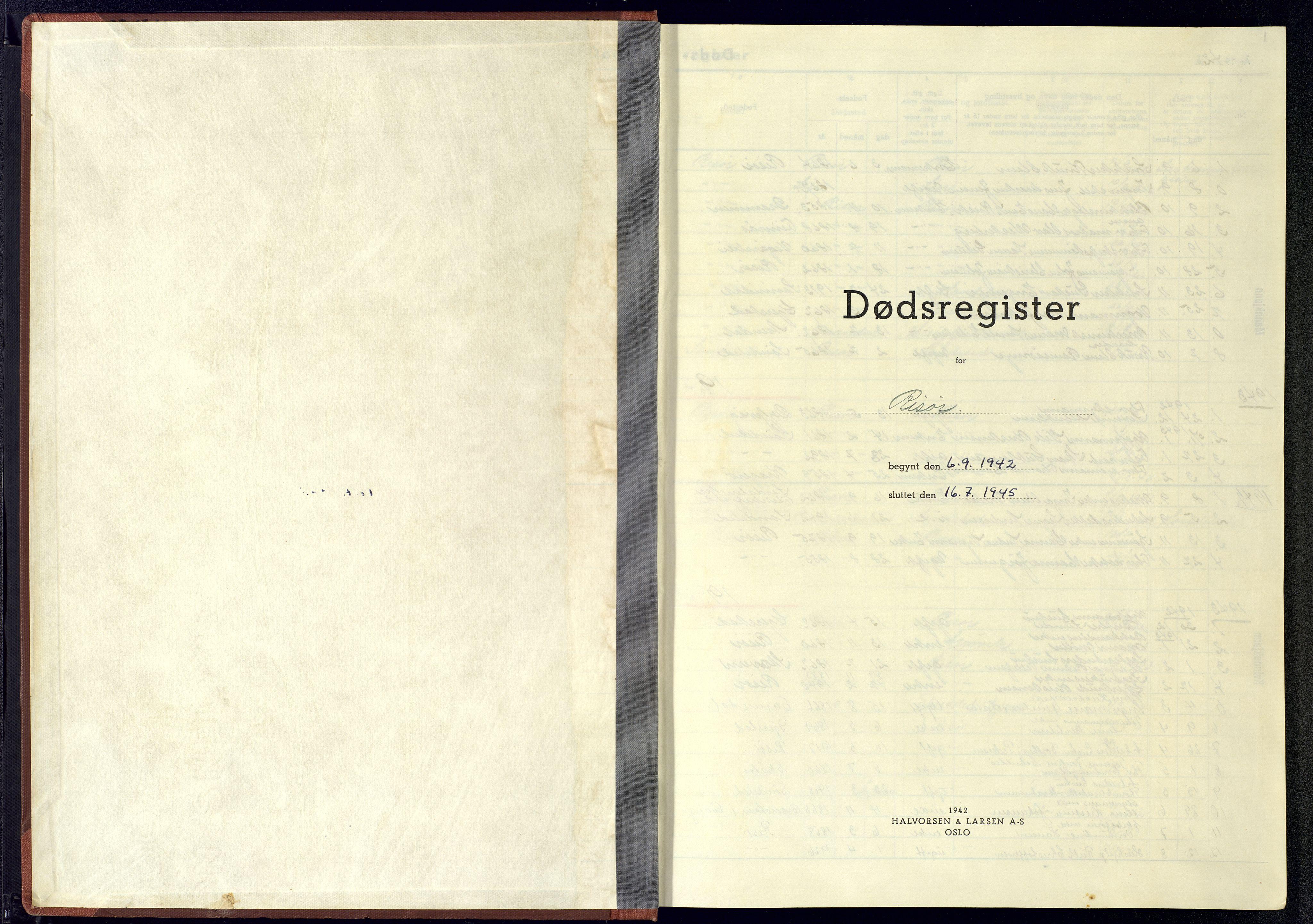 SAK, Risør sokneprestkontor, J/Jb/L0004: A-VI-10 - Dødsfallsregister, 1942-1945