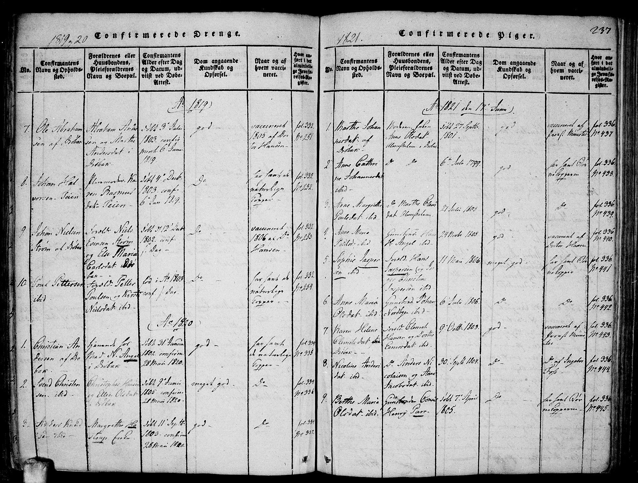 SAO, Drøbak prestekontor Kirkebøker, F/Fa/L0001: Ministerialbok nr. I 1, 1816-1842, s. 237