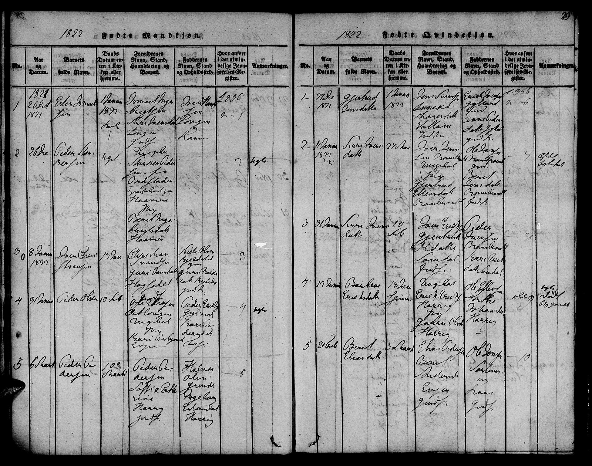 SAT, Ministerialprotokoller, klokkerbøker og fødselsregistre - Sør-Trøndelag, 692/L1102: Ministerialbok nr. 692A02, 1816-1842, s. 29