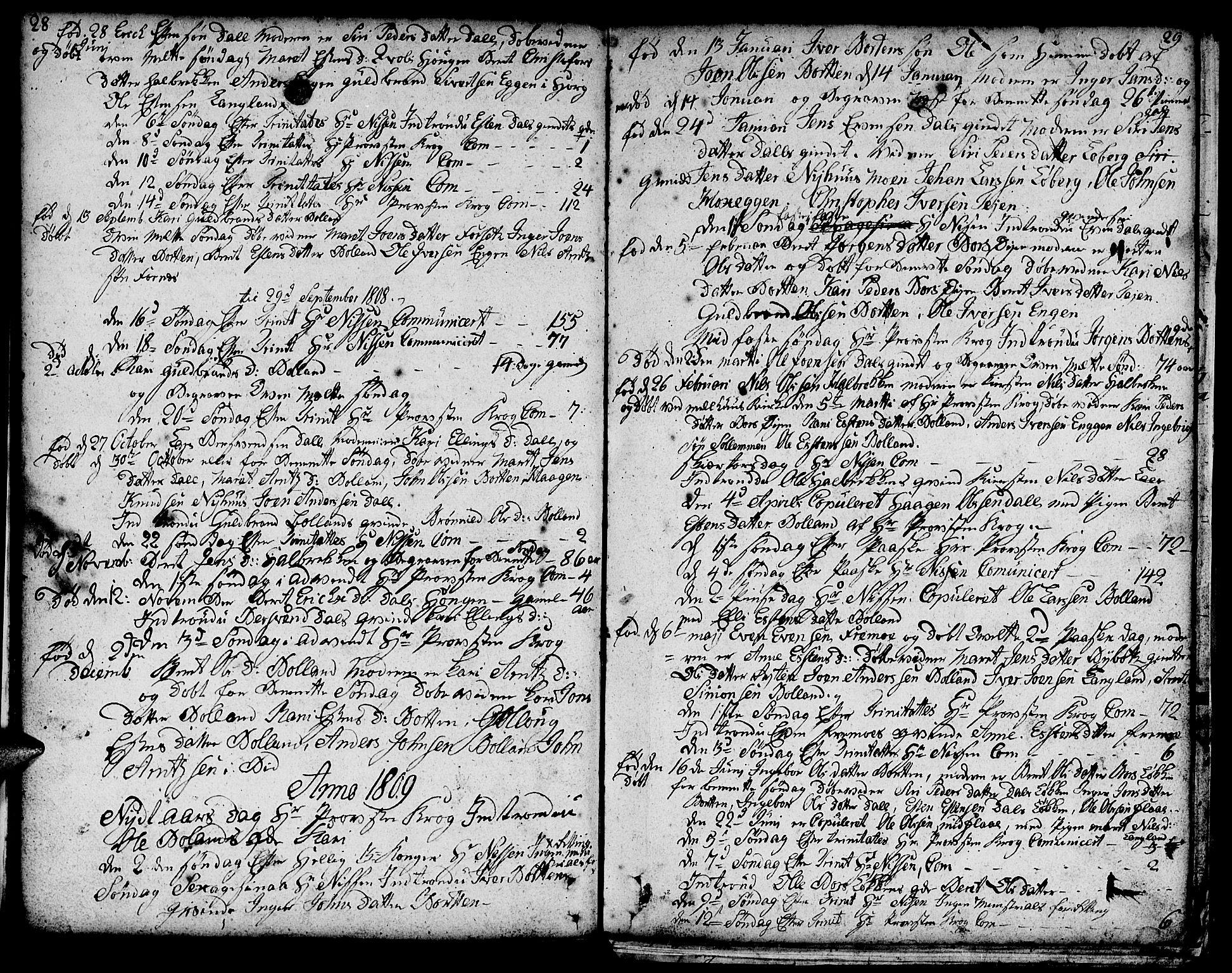 SAT, Ministerialprotokoller, klokkerbøker og fødselsregistre - Sør-Trøndelag, 693/L1120: Klokkerbok nr. 693C01, 1799-1816, s. 28-29