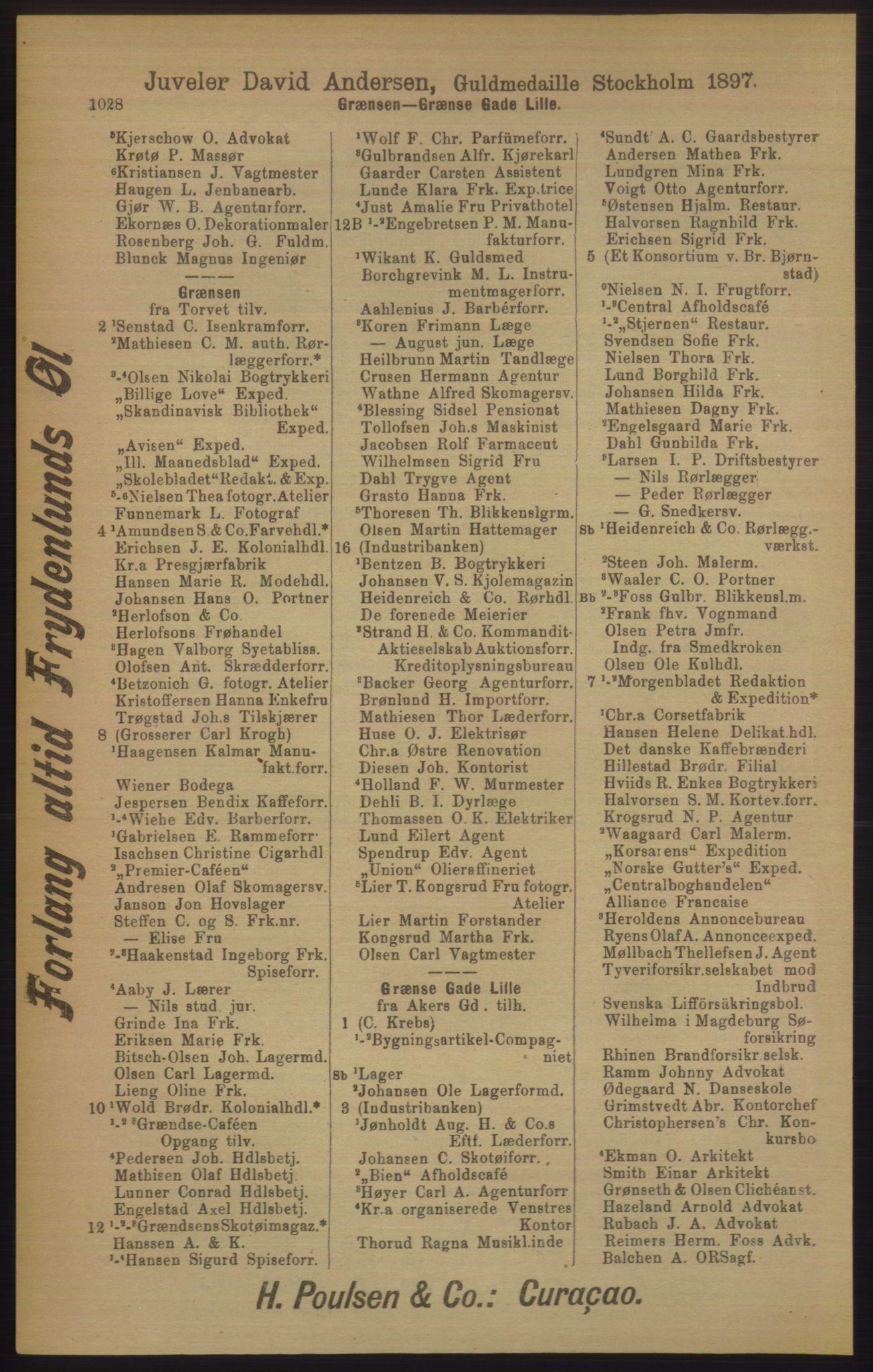 RA, Kristiania adressebok (publikasjon)*, 1906, s. 1028