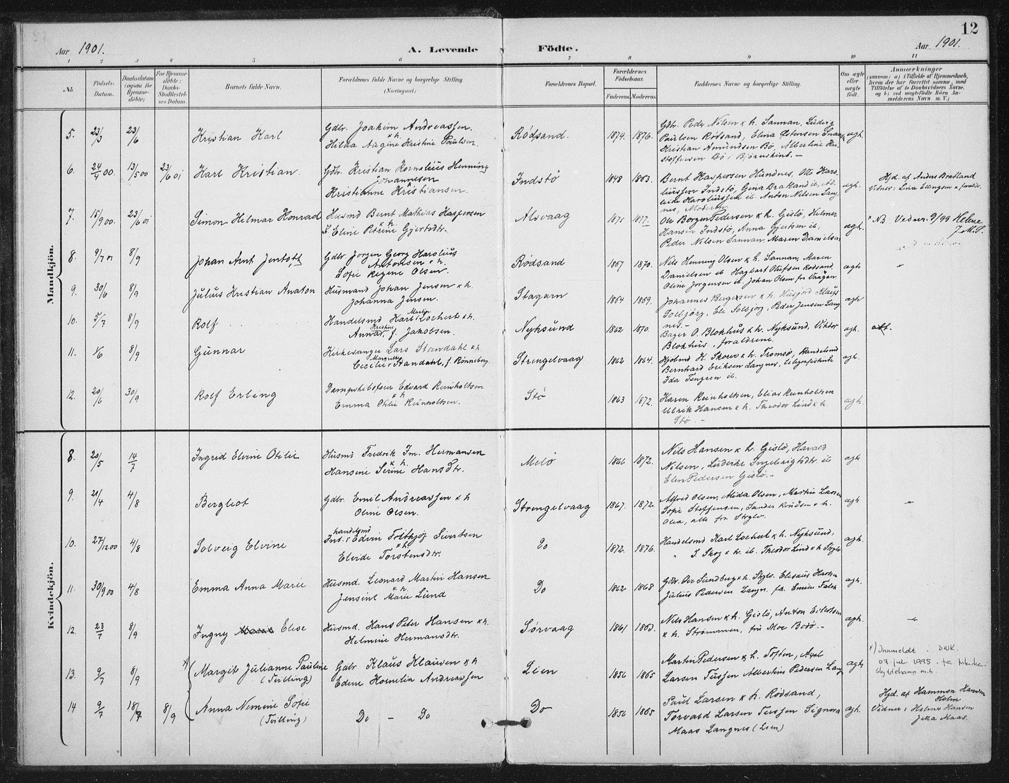 SAT, Ministerialprotokoller, klokkerbøker og fødselsregistre - Nordland, 894/L1356: Ministerialbok nr. 894A02, 1897-1914, s. 12